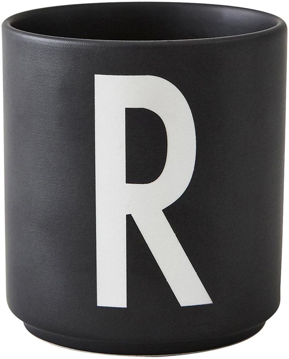 Tazza senza manico di design Personal (varianti dalla A alla Z), Fine Bone China (porcellana), Nero opaco, bianco, Tazza R