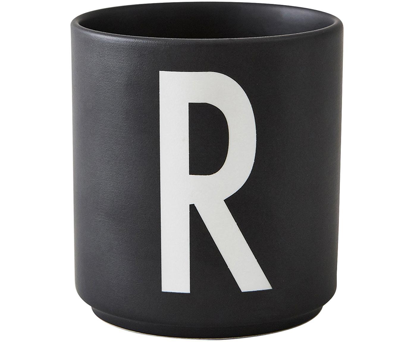 Design Becher Personal mit Buchstaben (Varianten von A bis Z), Fine Bone China (Porzellan), Schwarz matt, Weiss, Becher R