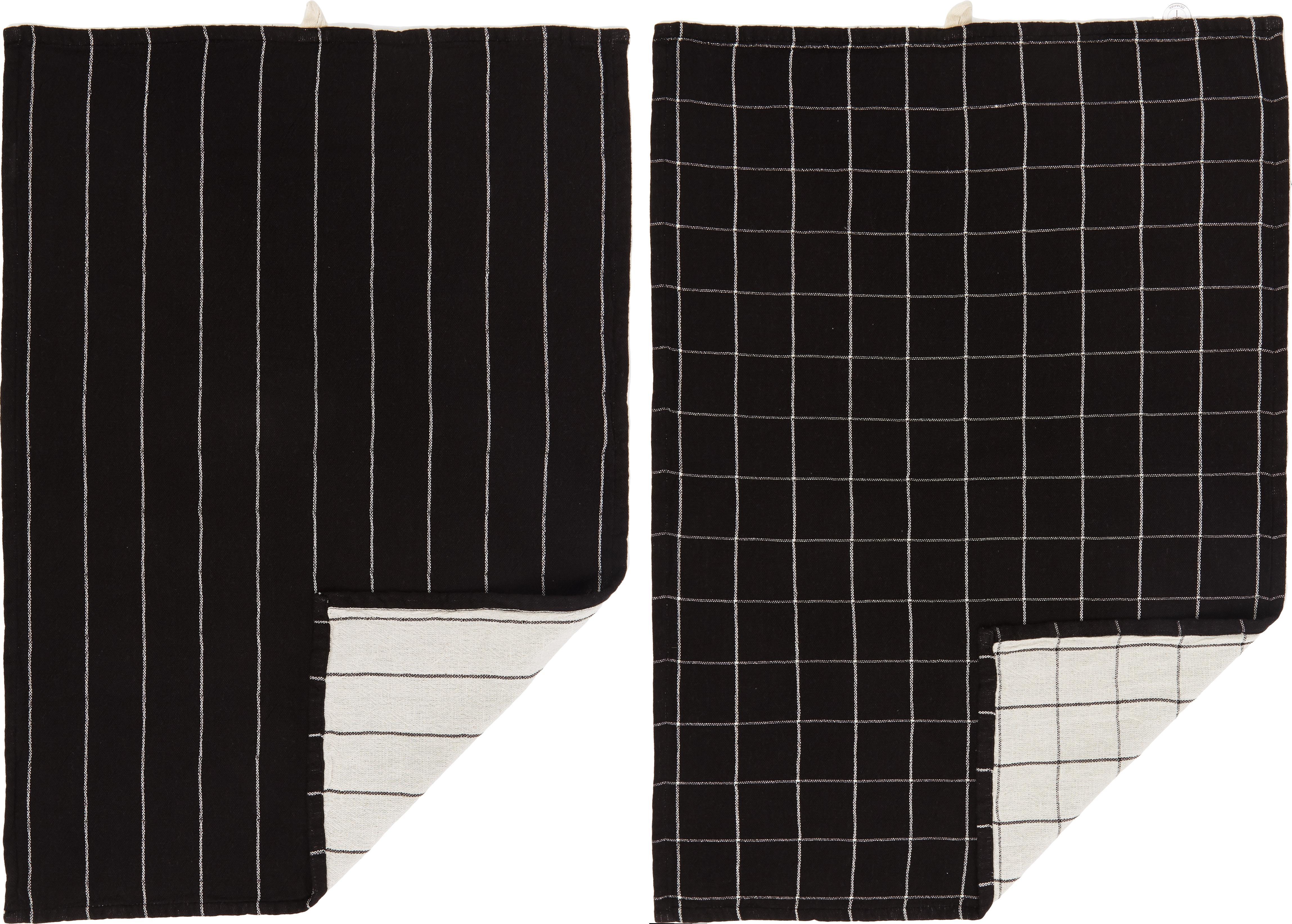 Komplet ręczników kuchennych Rick, 2 elem., Bawełna, Antracytowy, złamana biel, S 50 x D 70 cm