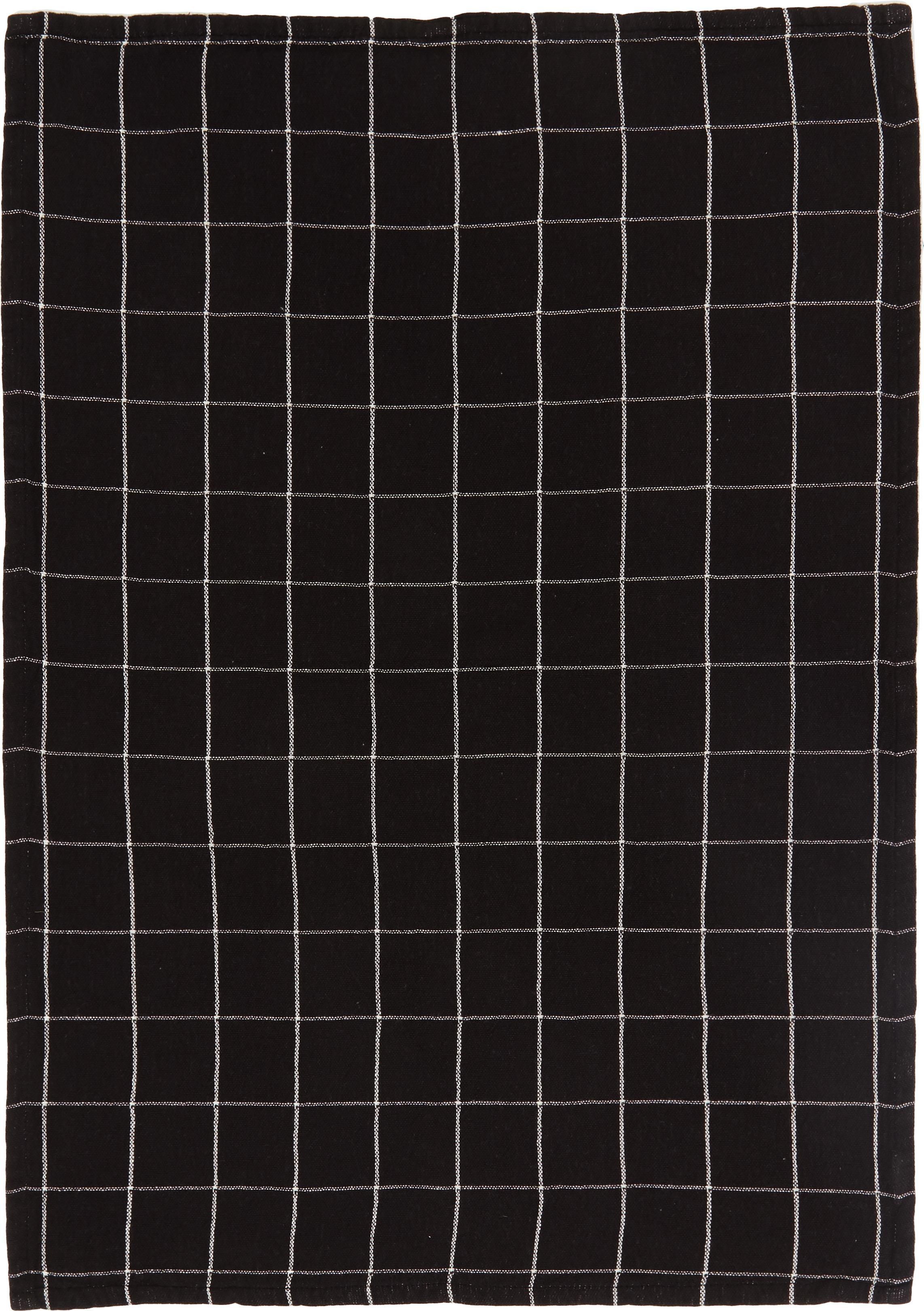 Set canovacci Rick, 2 pz., Cotone, Antracite, bianco spezzato, Larg. 50 x Lung. 70 cm