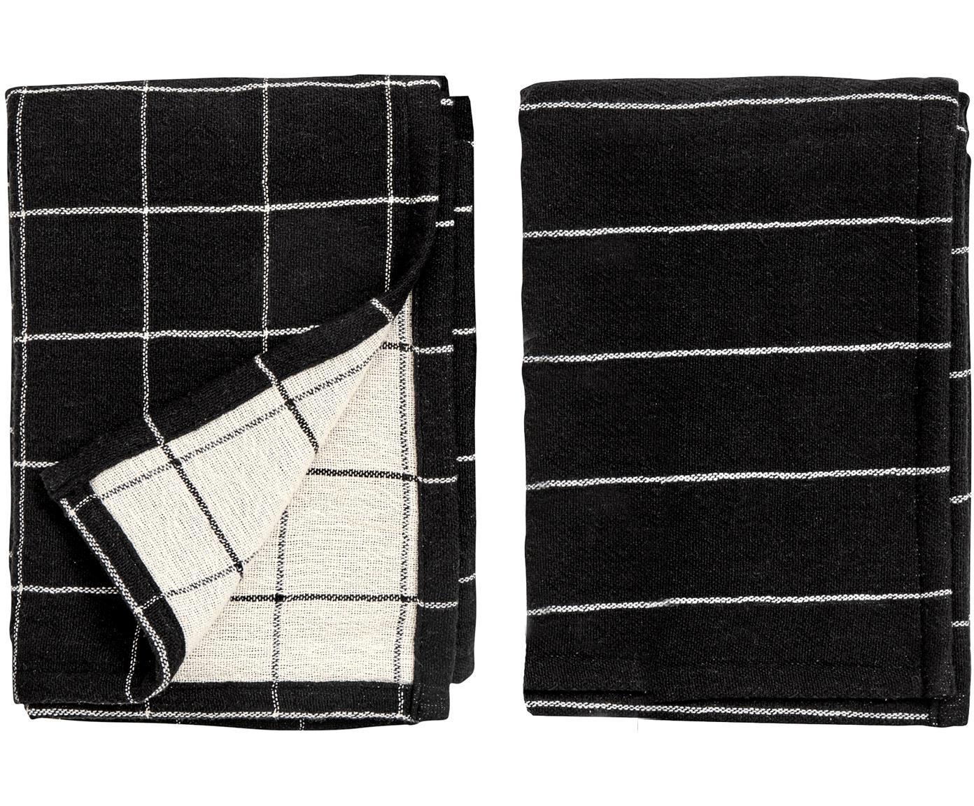 Theedoekenset Rick, 2-delig, Katoen, Antraciet, gebroken wit, 50 x 70 cm