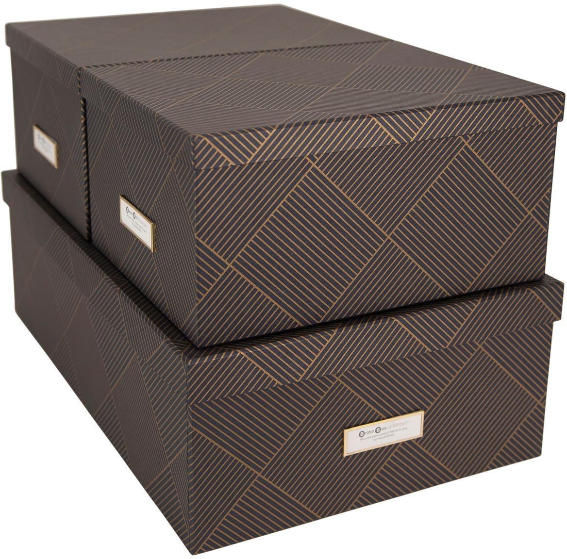 Set de cajas Inge, 3pzas., Caja: cartón laminado, Dorado, gris oscuro, Set de diferentes tamaños