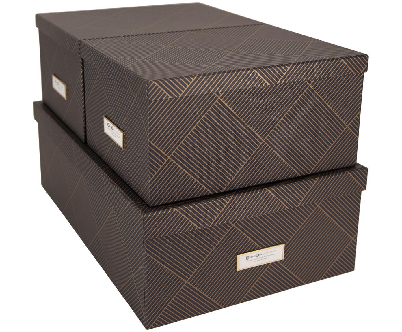 Set 3 scatole Inge, Scatola: solido, cartone laminato, Dorato, grigio scuro, Diverse dimensioni