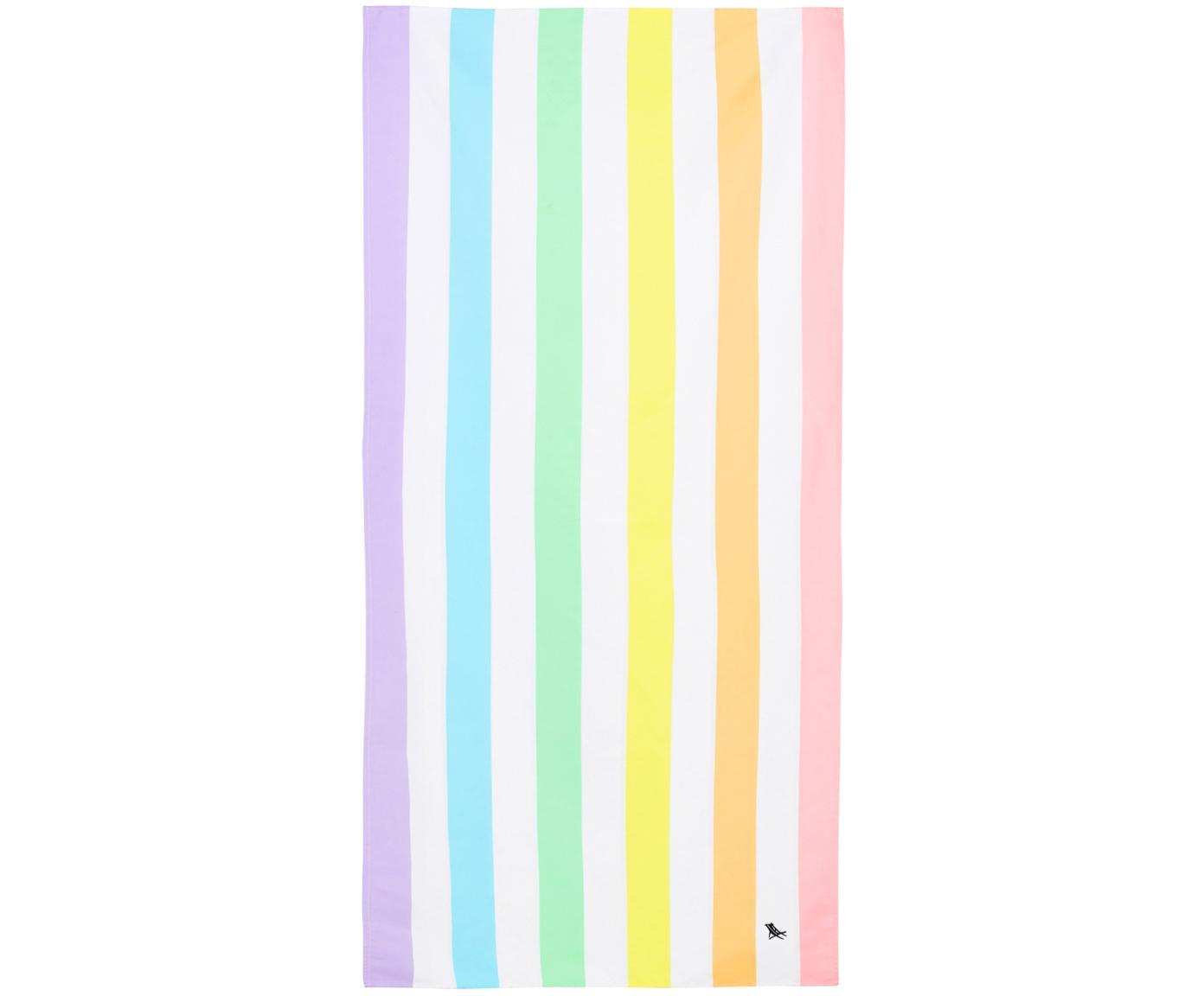 Telo mare in microfibra Summer, asciugatura rapida, Microfibra (80% poliestere, 20% poliammide), Multicolore, bianco, Larg. 90 x Lung. 200 cm