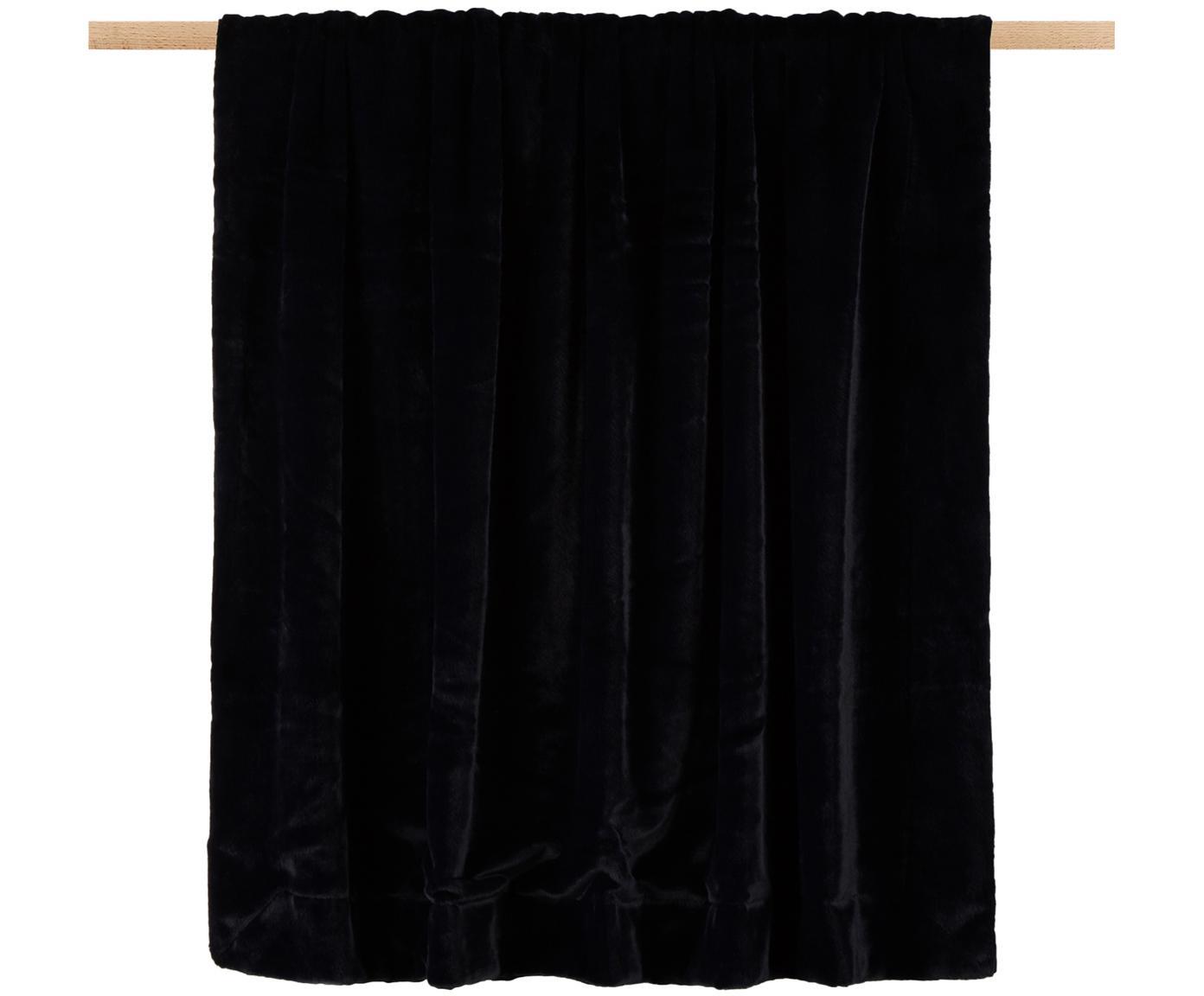 Kunstfell-Plaid Furry, Vorderseite: 60% Acetat, 40% Polyester, Rückseite: Polyester, Nachtblau, 150 x 200 cm