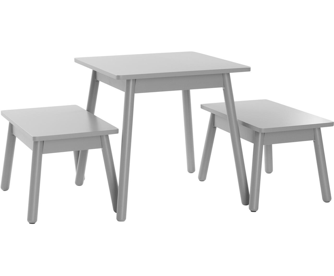 Kindertafelset Kinna Mini, 3-delig, Grenenhout, MDF, Grijs, Verschillende formaten