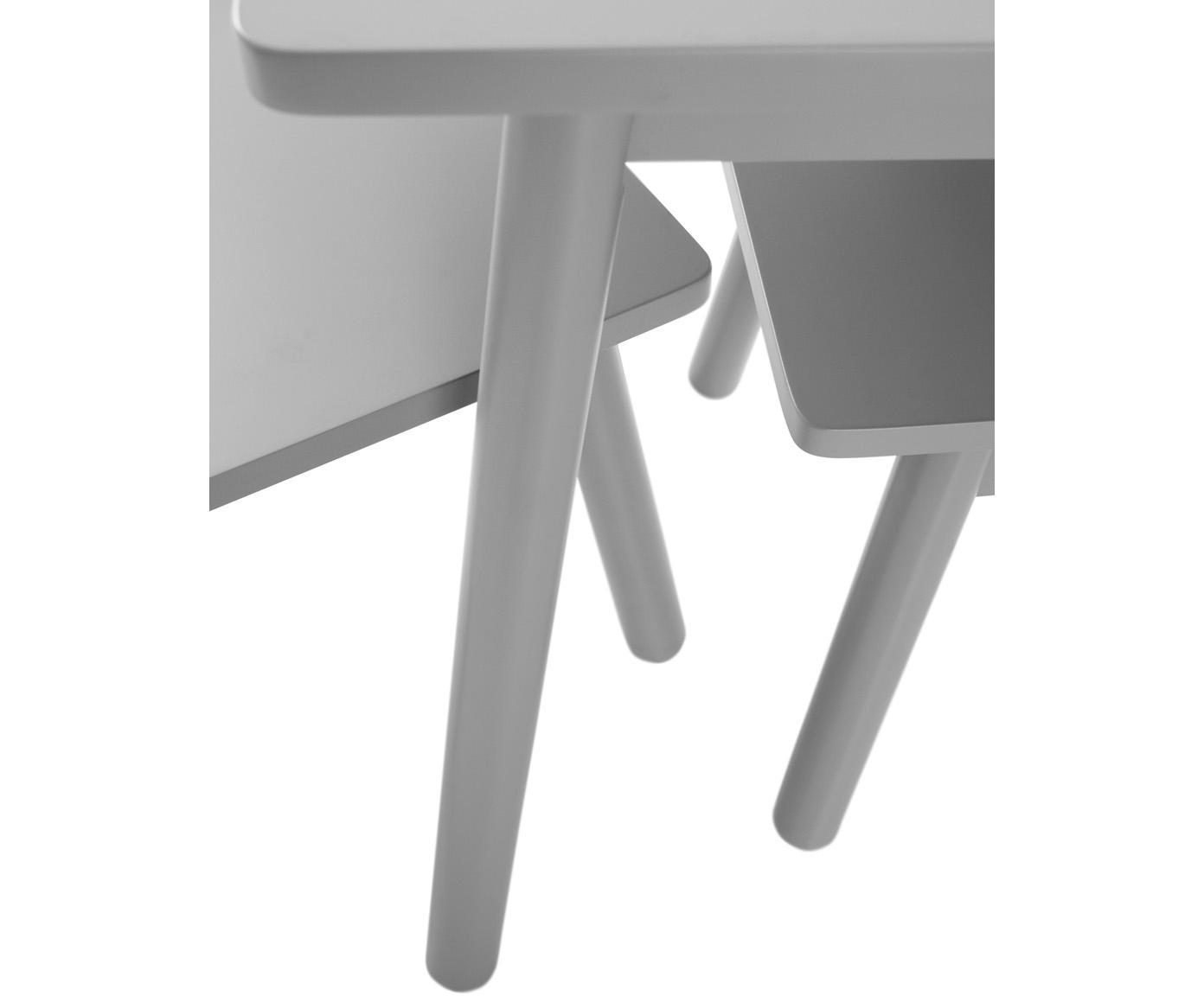 Kindertisch-Set Kinna Mini, 3-tlg., Kiefernholz, Mitteldichte Holzfaserplatte (MDF), Grau, Sondergrößen