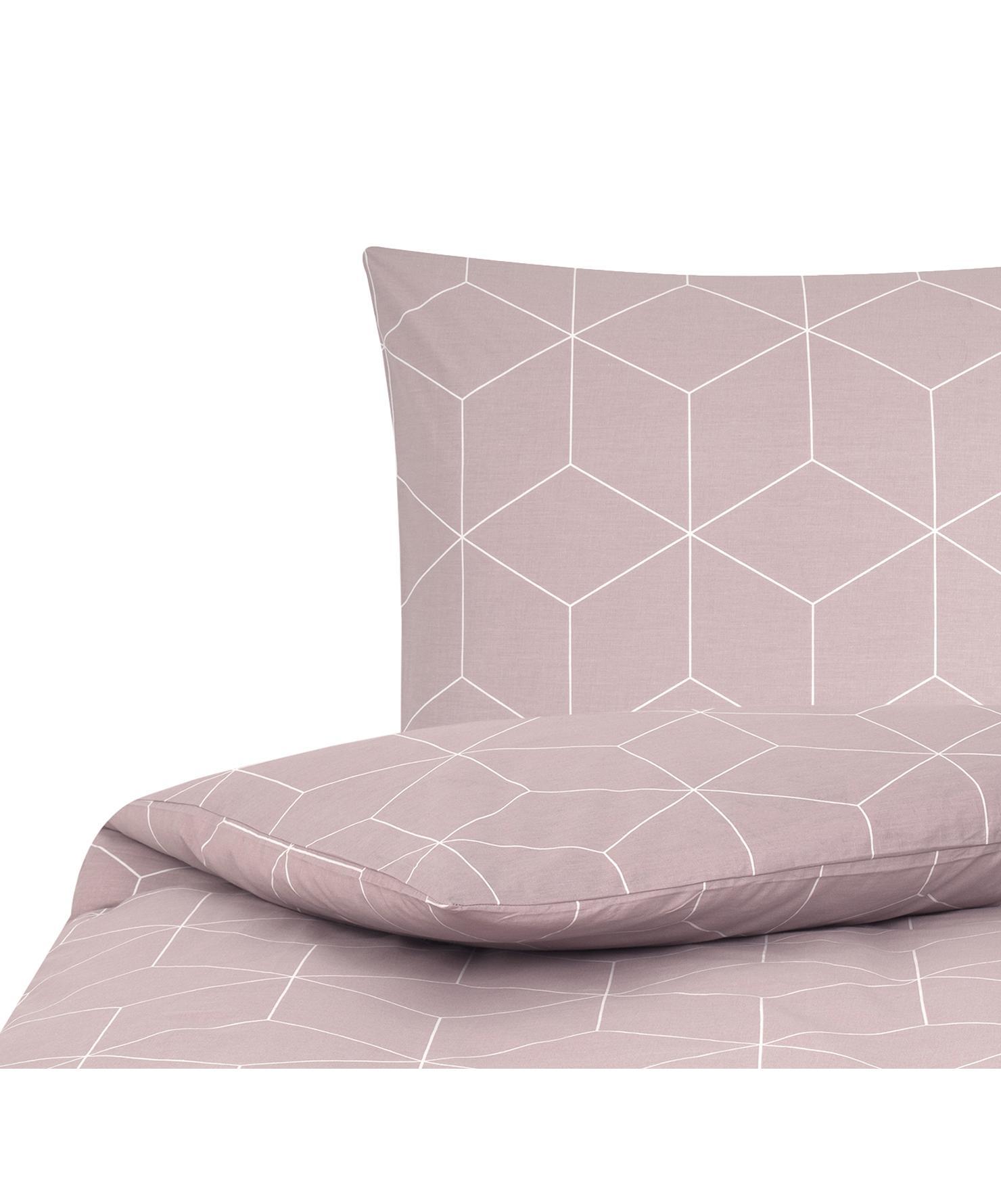 Baumwoll-Bettwäsche Lynn mit grafischem Muster, Webart: Renforcé Fadendichte 144 , Altrosa, Cremeweiß, 135 x 200 cm + 1 Kissen 80 x 80 cm