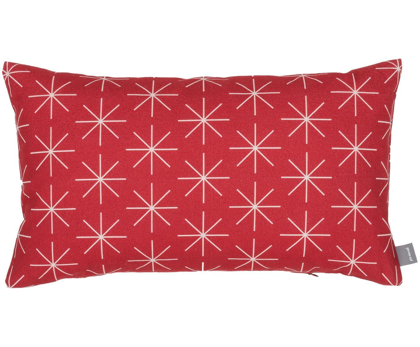 Kissenhülle Stella in Rot/Weiß, Baumwolle, Rot, gebrochenes Weiß, 30 x 50 cm