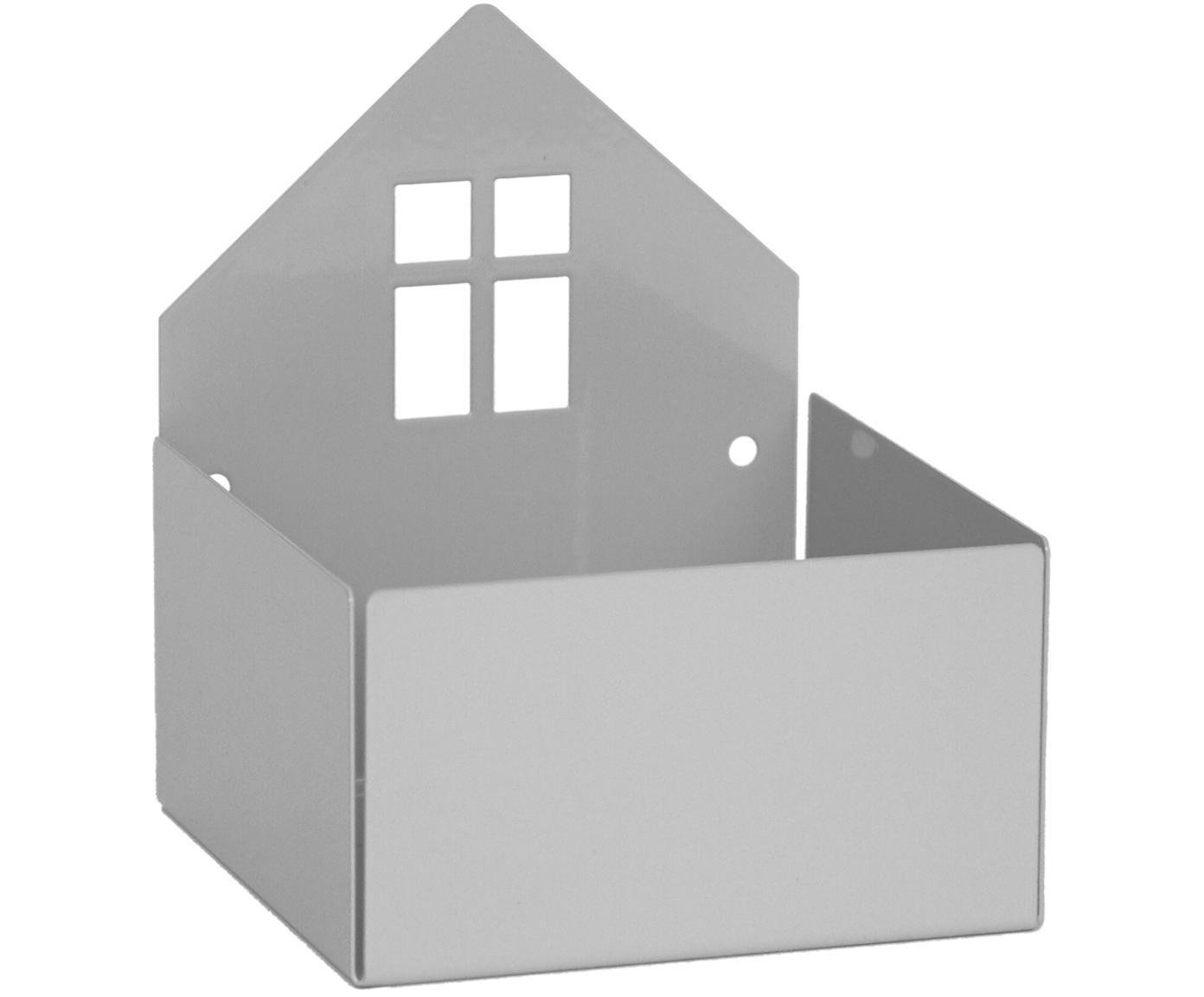 Opbergdoos Town House, Gepoedercoat metaal, Grijs, 11 x 13 cm
