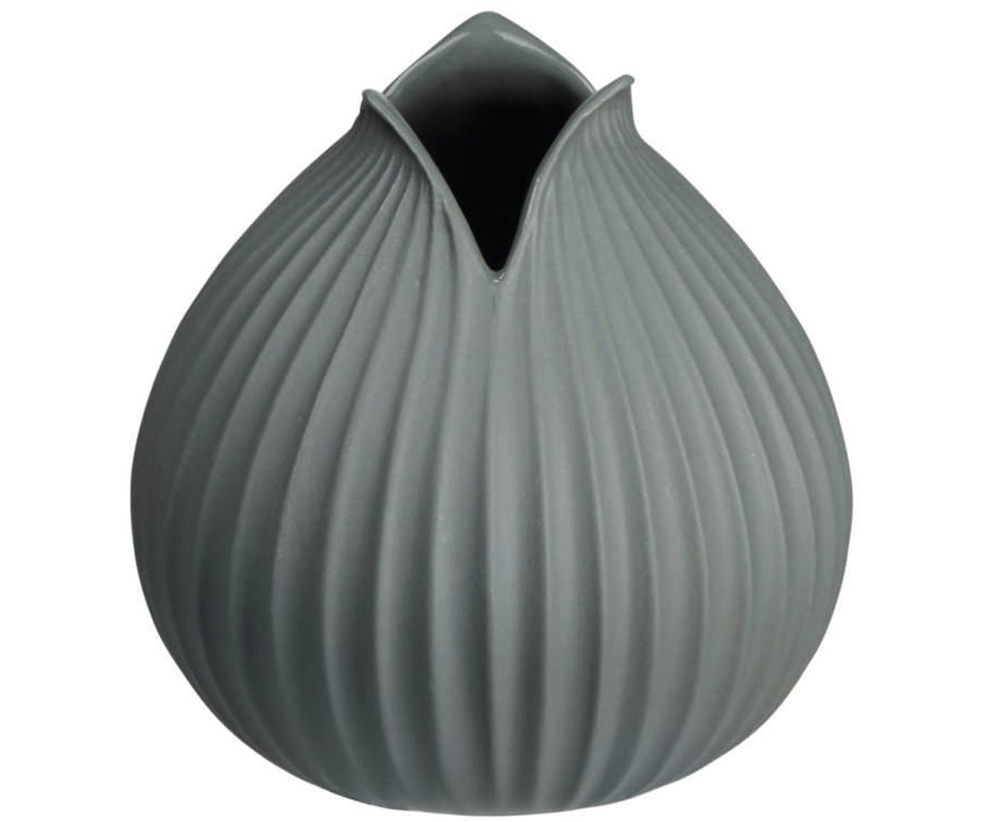 Handgefertigte Vase Yoko aus Porzellan, Porzellan, Grau, Ø 10 x H 11 cm