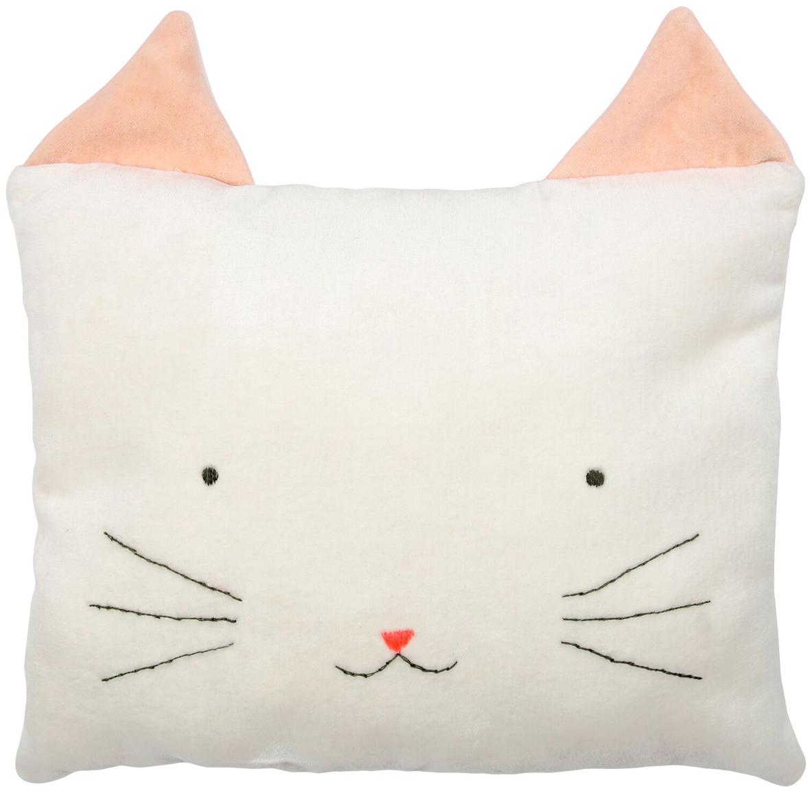 Cuscino soffice gatto Cat, Rivestimento: velluto di cotone, Bianco latteo, rosa, nero, Larg. 30 x Alt. 30 cm