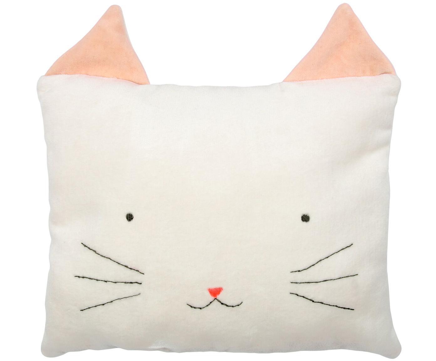 Kuschelkissen Cat, Bezug: Baumwollsamt, Gebrochenes Weiß, Rosa, Schwarz, 30 x 30 cm