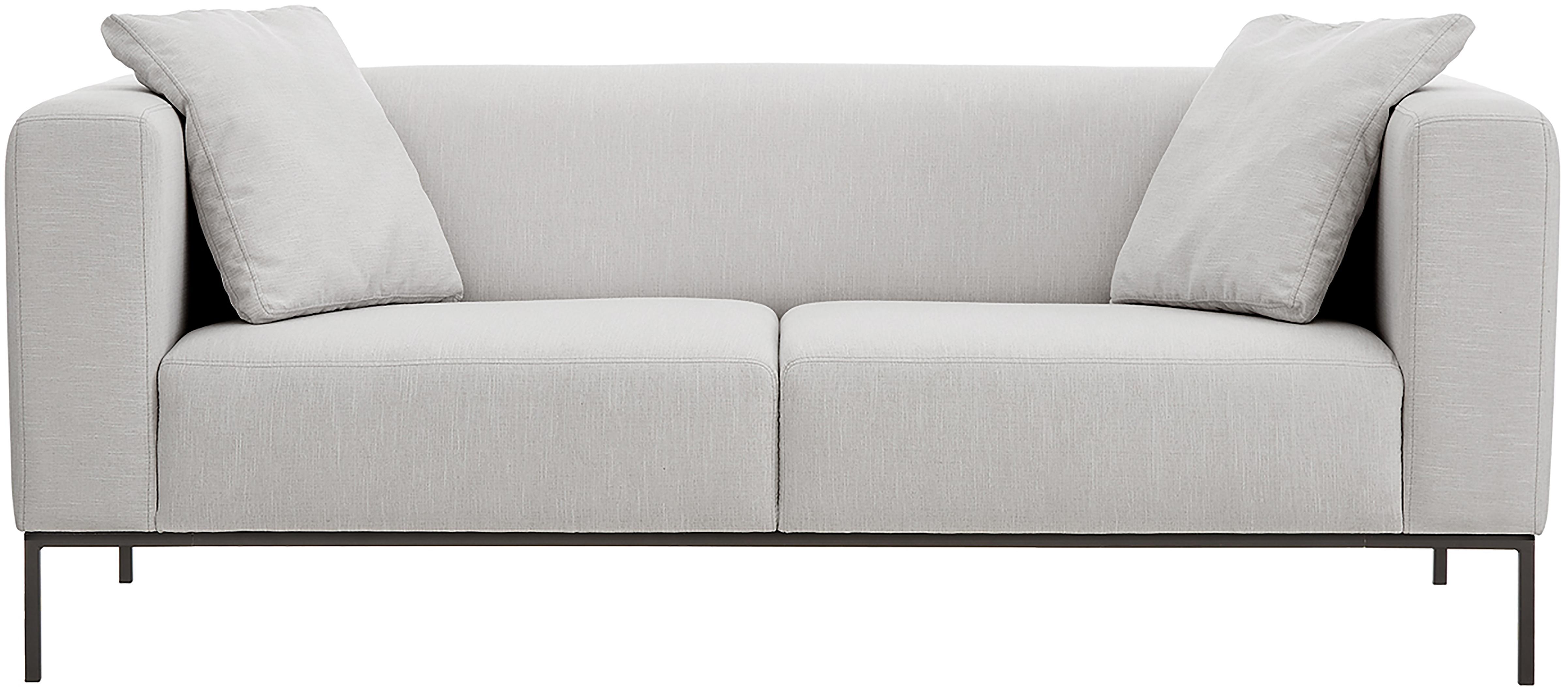 Sofa Carrie (3-Sitzer), Bezug: Polyester 50.000 Scheuert, Gestell: Spanholz, Hartfaserplatte, Füße: Metall, lackiert, Webstoff Grau, B 202 x T 86 cm