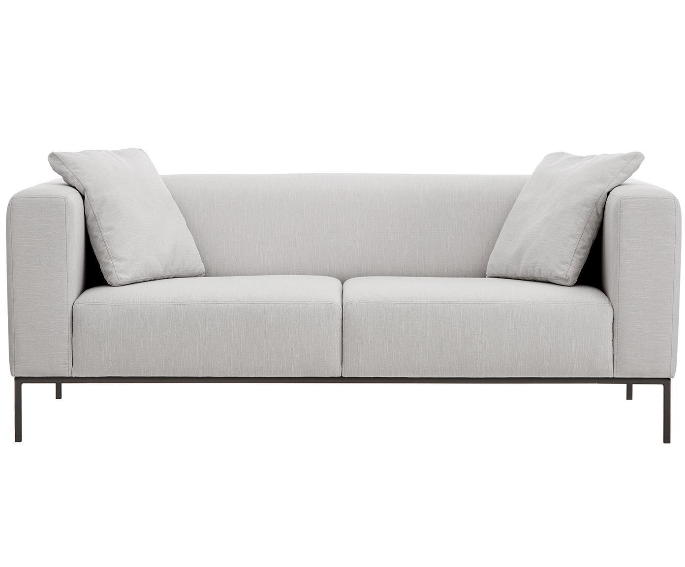 Bank Carrie (3-zits), Bekleding: polyester, Frame: spaanplaat, hardboard, mu, Poten: gelakt metaal, Webstoff Grau, B 202 x D 86 cm