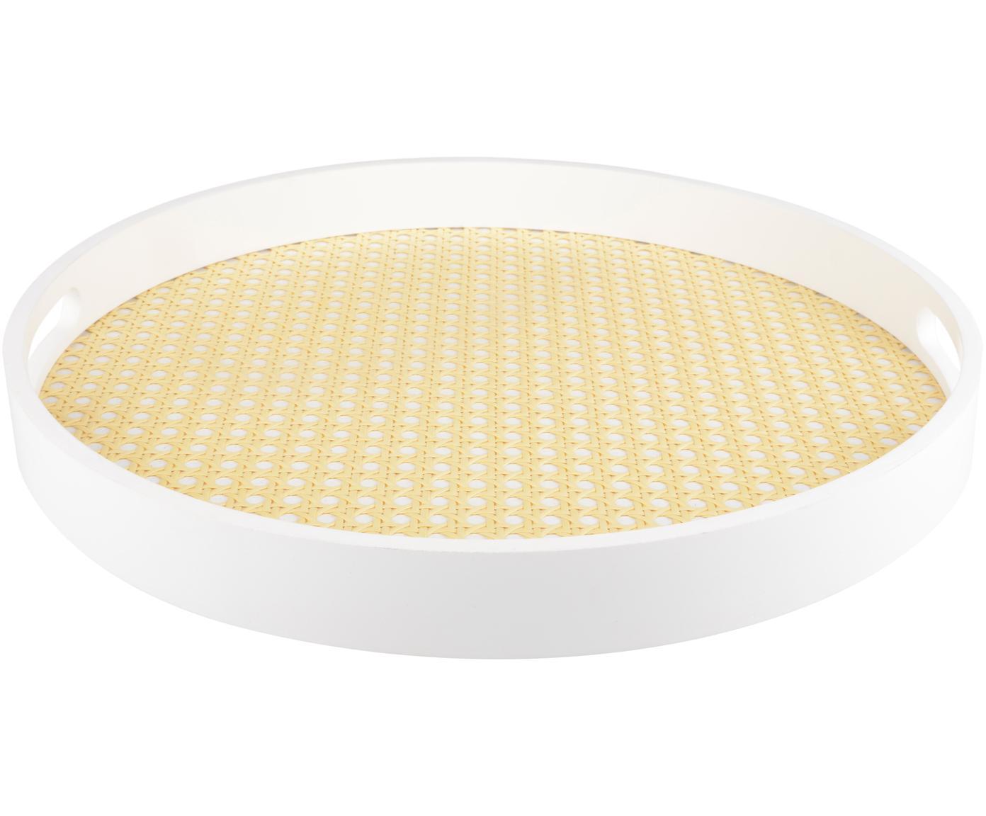 Decoratief dienblad Cirklar, MDF, vlechtwerk, Wit, beige, Ø 39 cm