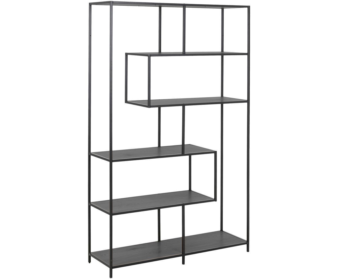 Libreria in legno e metallo Seaford Zig, Ripiani: pannello di fibra a media, Struttura: metallo verniciato a polv, Nero, Larg. 114 x Alt. 185 cm