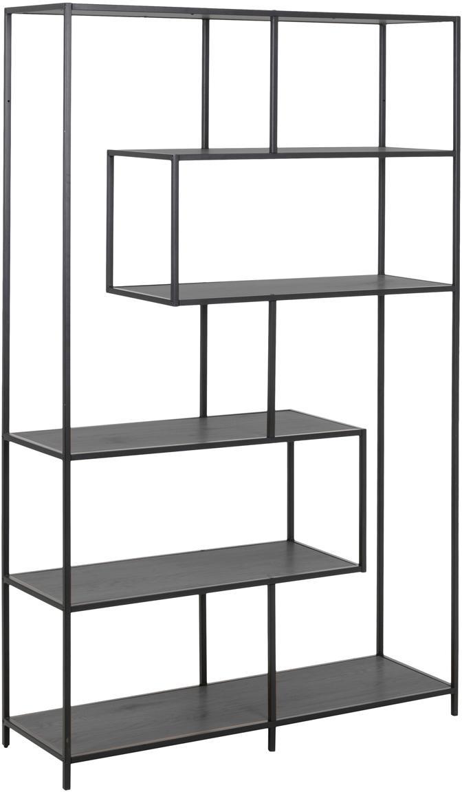 Estantería de metal Seaford Zig, Estantes: tablero de fibras de dens, Estructura: metal con pintura en polv, Negro, An 114 x Al 185 cm