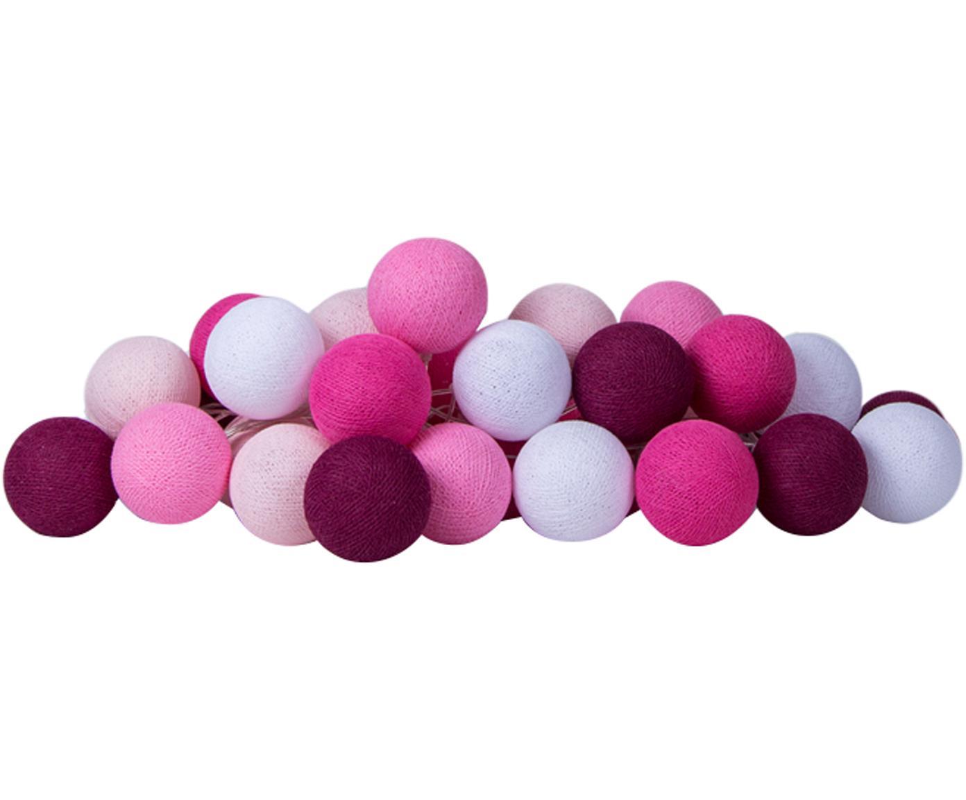 LED Lichterkette Colorain, Lampions: Polyester, Rosatöne, Weiß, L 264 cm
