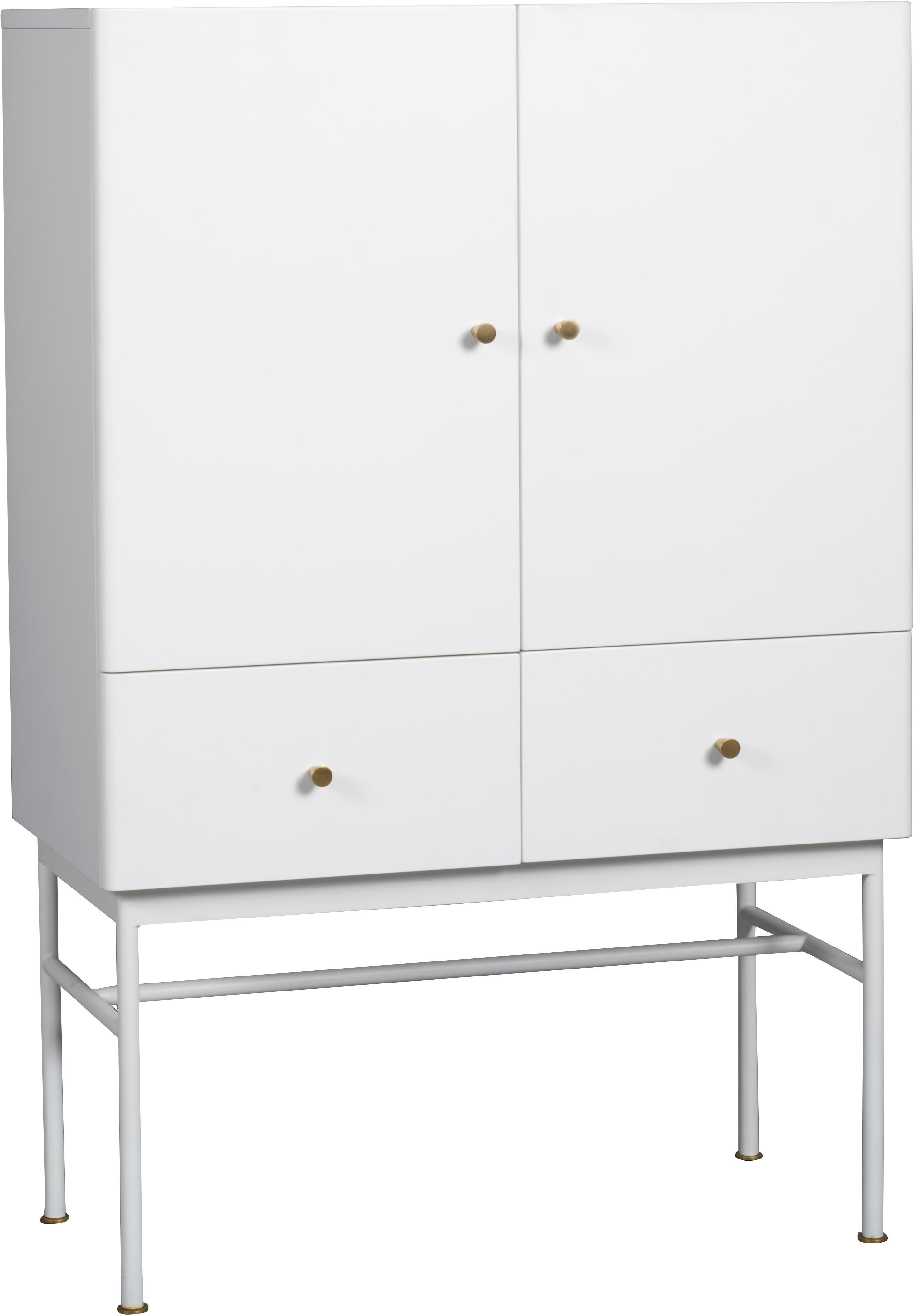 Witte dressoir Glendale met lades en deuren, Frame: gelakt MDF, Eikenhoutkleurig, wit, 80 x 120 cm