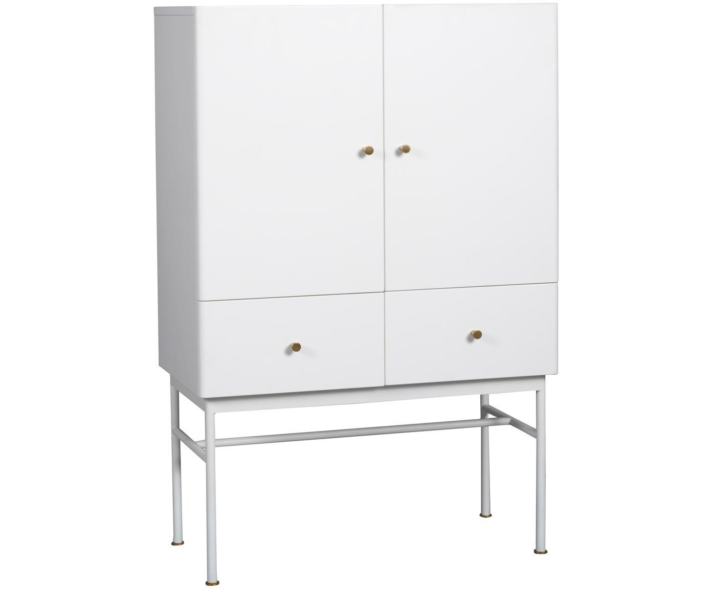 Weißes Highboard Glendale mit Schubladen und Türen, Korpus: Mitteldichte Holzfaserpla, Eichenholz, Weiß, 80 x 120 cm