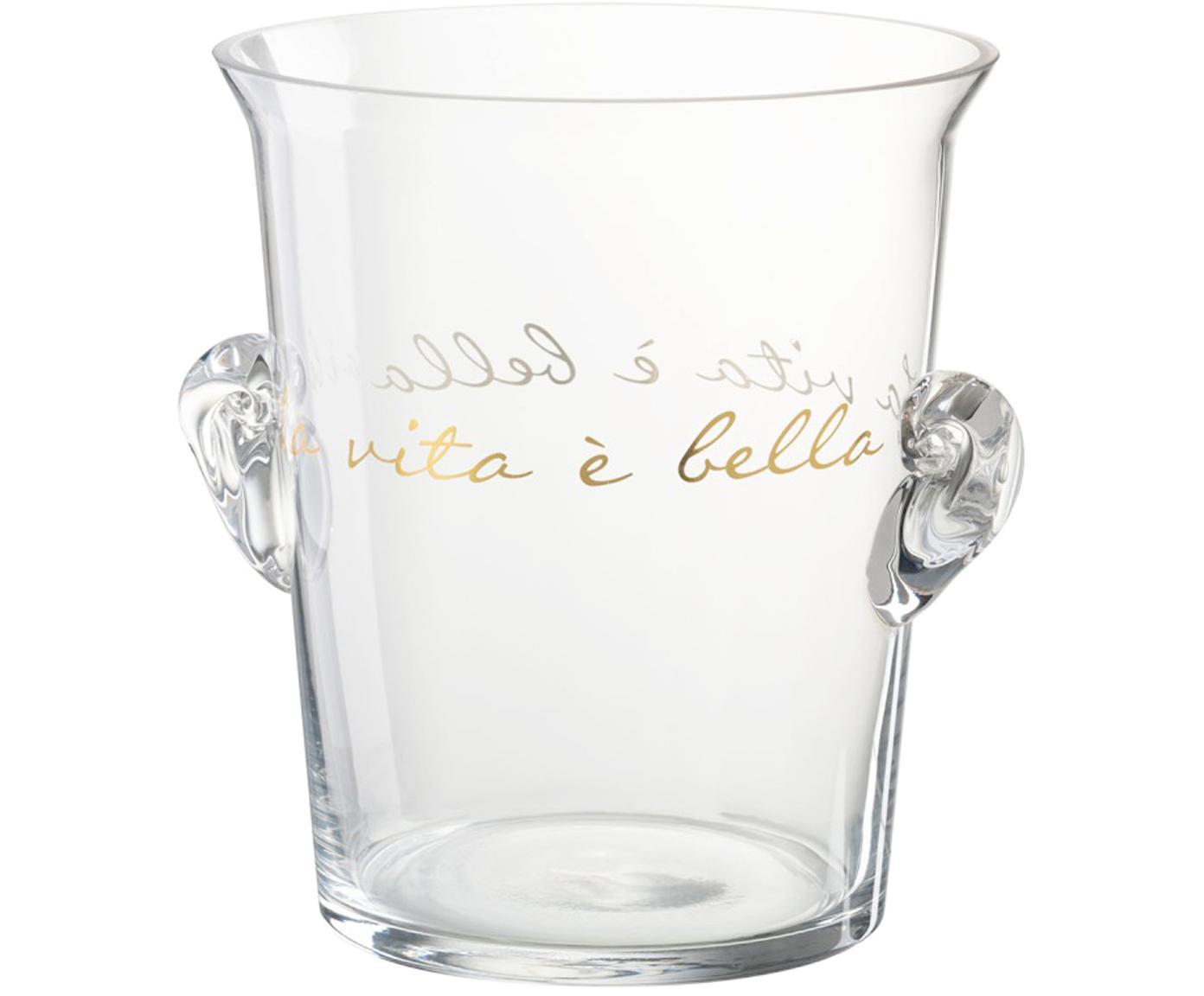 Eiseimer La Vita mit goldfarbener Aufschrift, Glas, Transparent, Goldfarben, Ø 19 x H 21 cm
