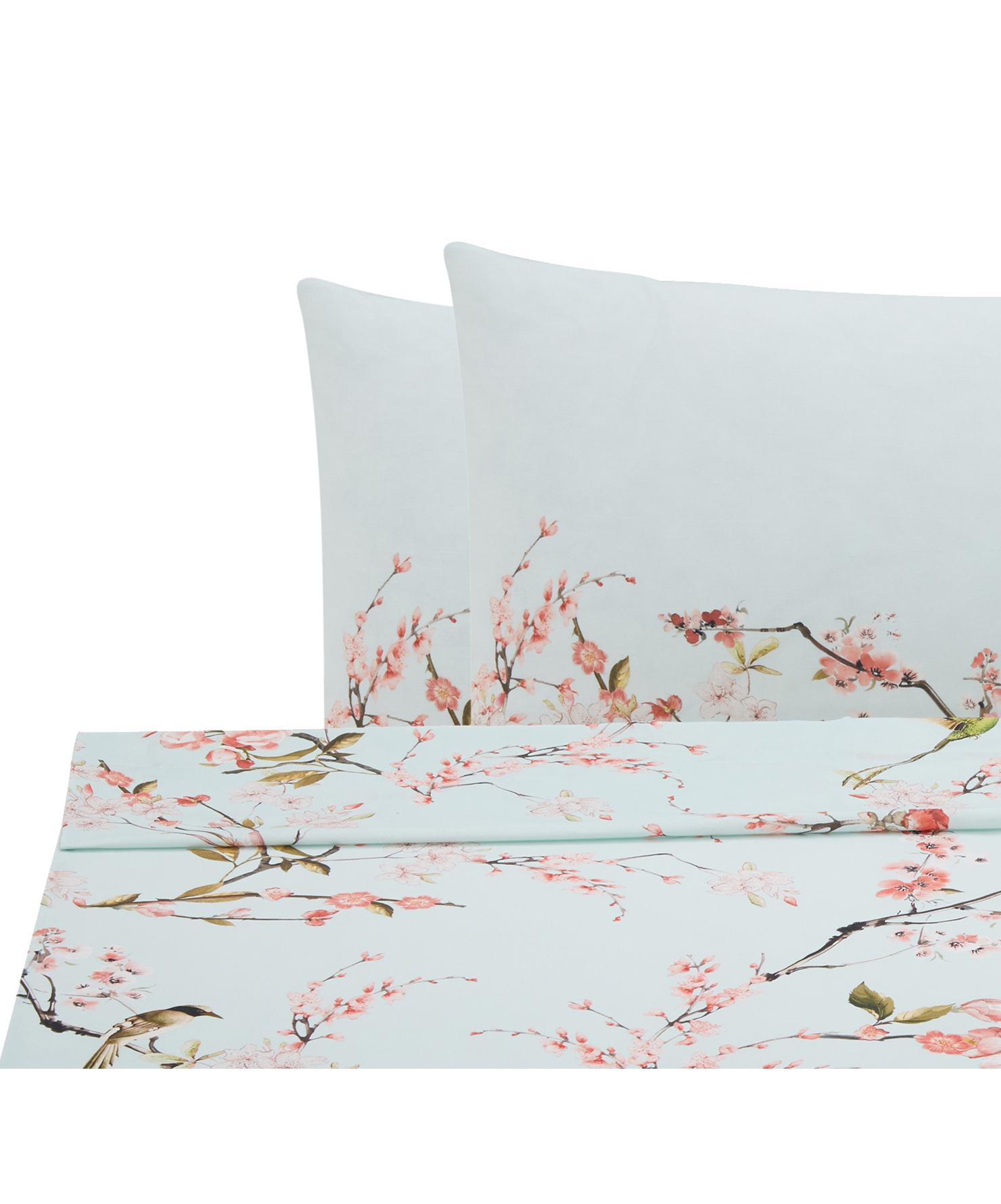 Set lenzuola in cotone ranforce Chinoiserie 3 pz, Tessuto: Renforcé, Verde, rosa, 240 x 270 cm