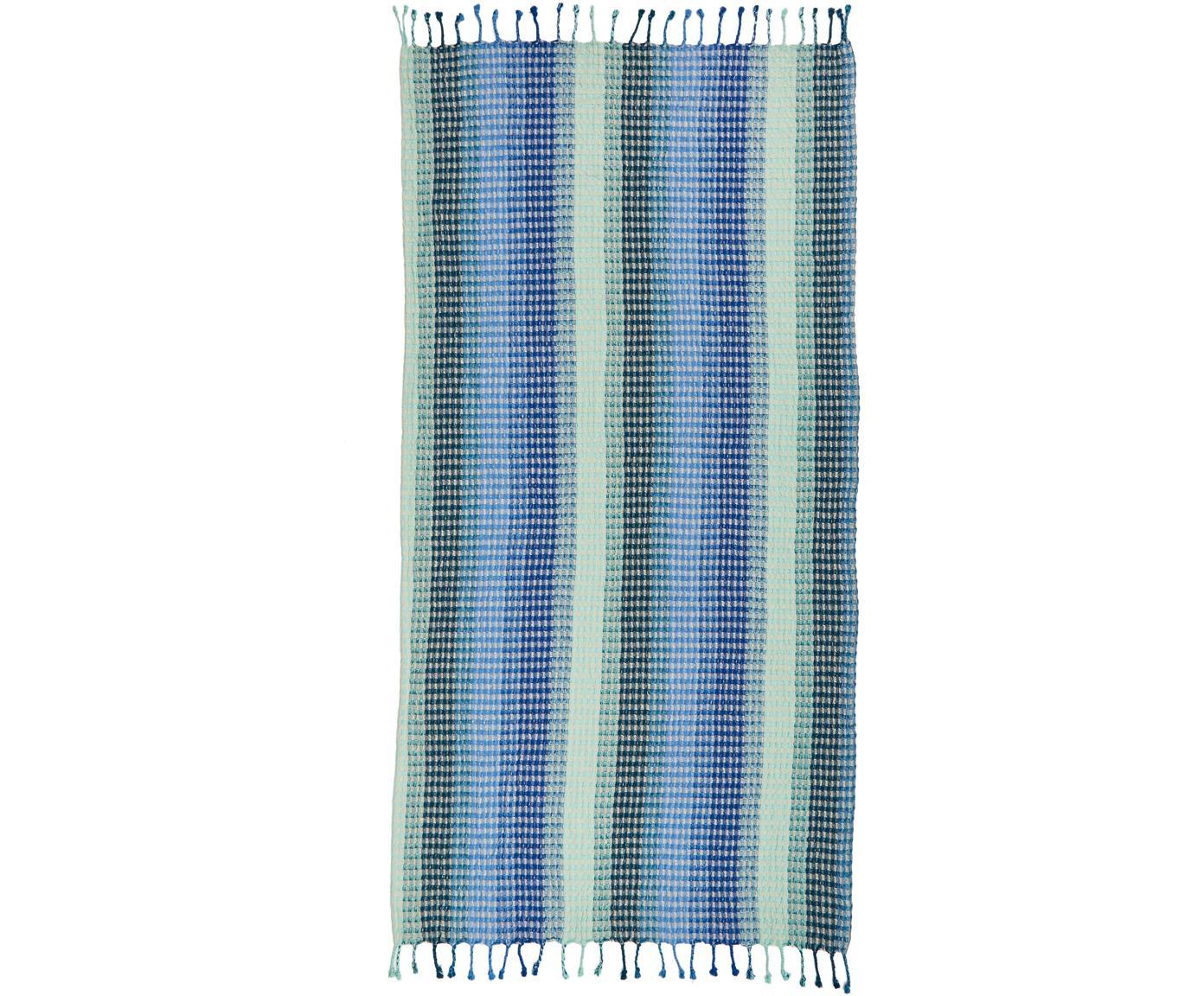 Telo mare a righe Manacor, Cotone, Qualità leggera 380g/m², Tonalità blu, toni turchesi, beige chiaro, Larg. 100 x Lung. 180 cm