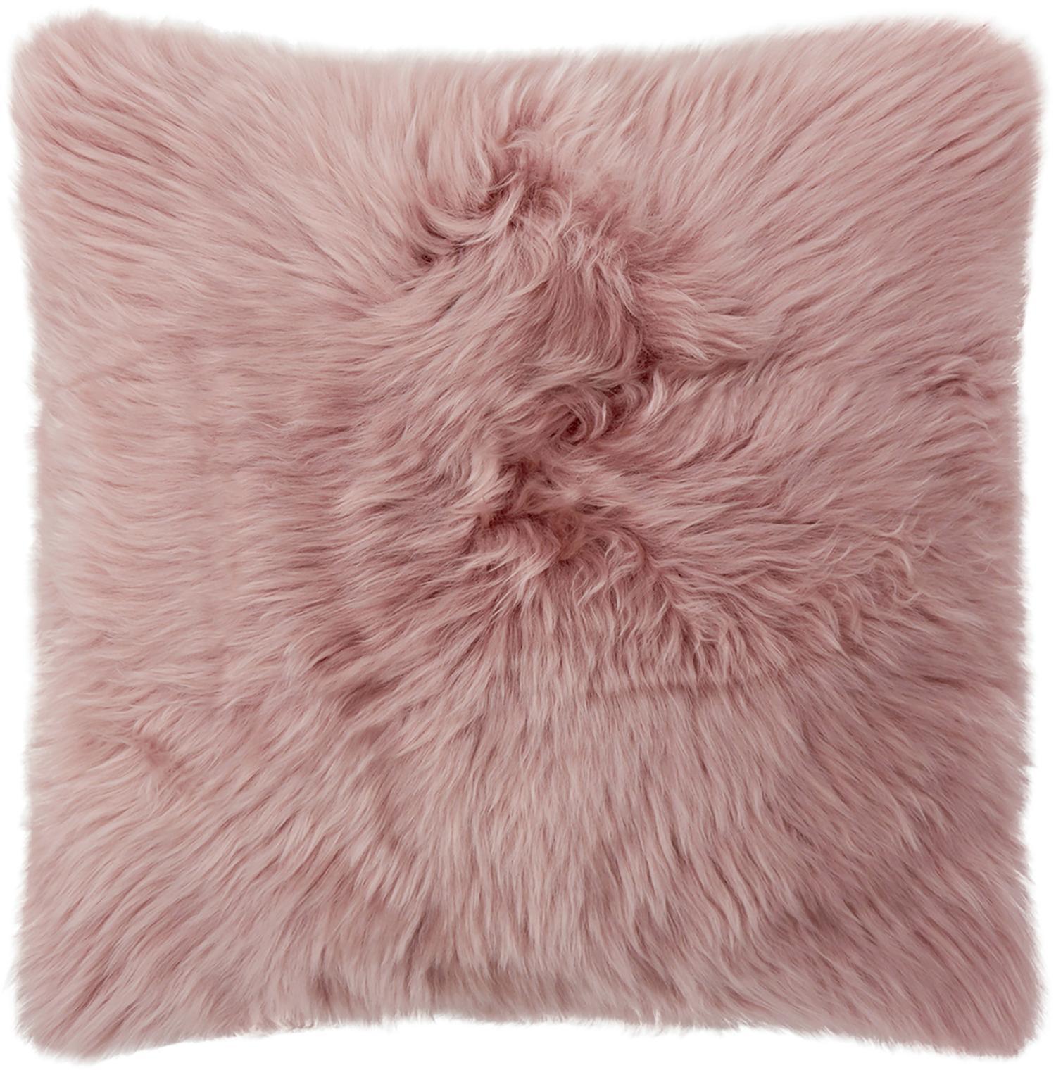 Funda de cojín de piel de oveja Oslo, Parte delantera: piel de oveja, Parte trasera: lino, Parte delantera: rosa Parte trasera: gris claro, An 40 x L 40 cm