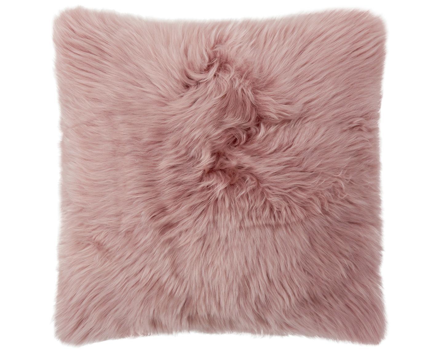 Schaffell-Kissenhülle Oslo, glatt, Vorderseite: 100% Schaffell, Rückseite: Leinen, Vorderseite: Rosa Rückseite: Hellgrau, 40 x 40 cm
