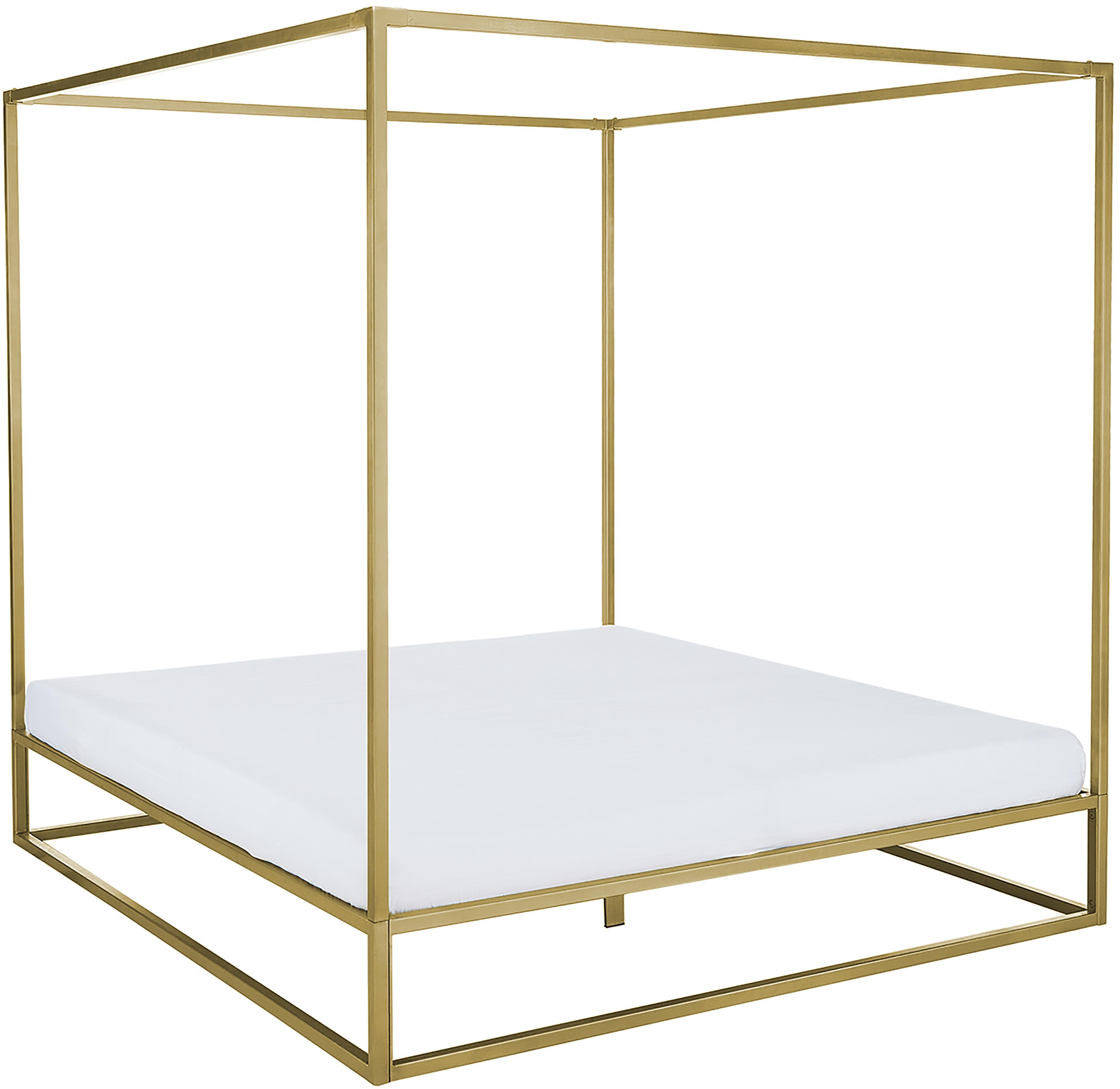 Cama con dosel Belle, Metal, latón, Dorado mate, 160 x 200 cm