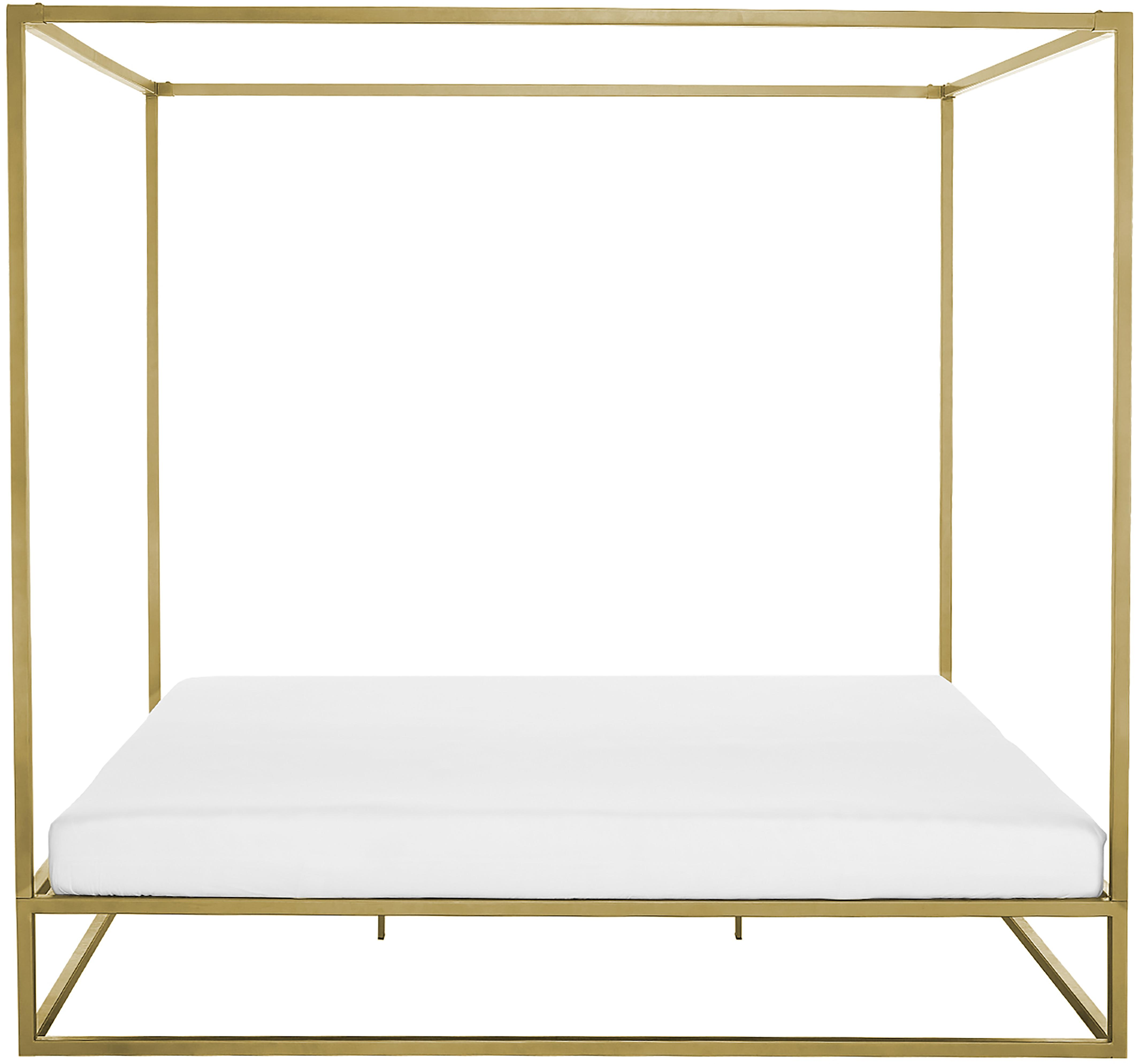 Letto a baldacchino Belle, Metallo ottonato, Dorato opaco, 160 x 200 cm