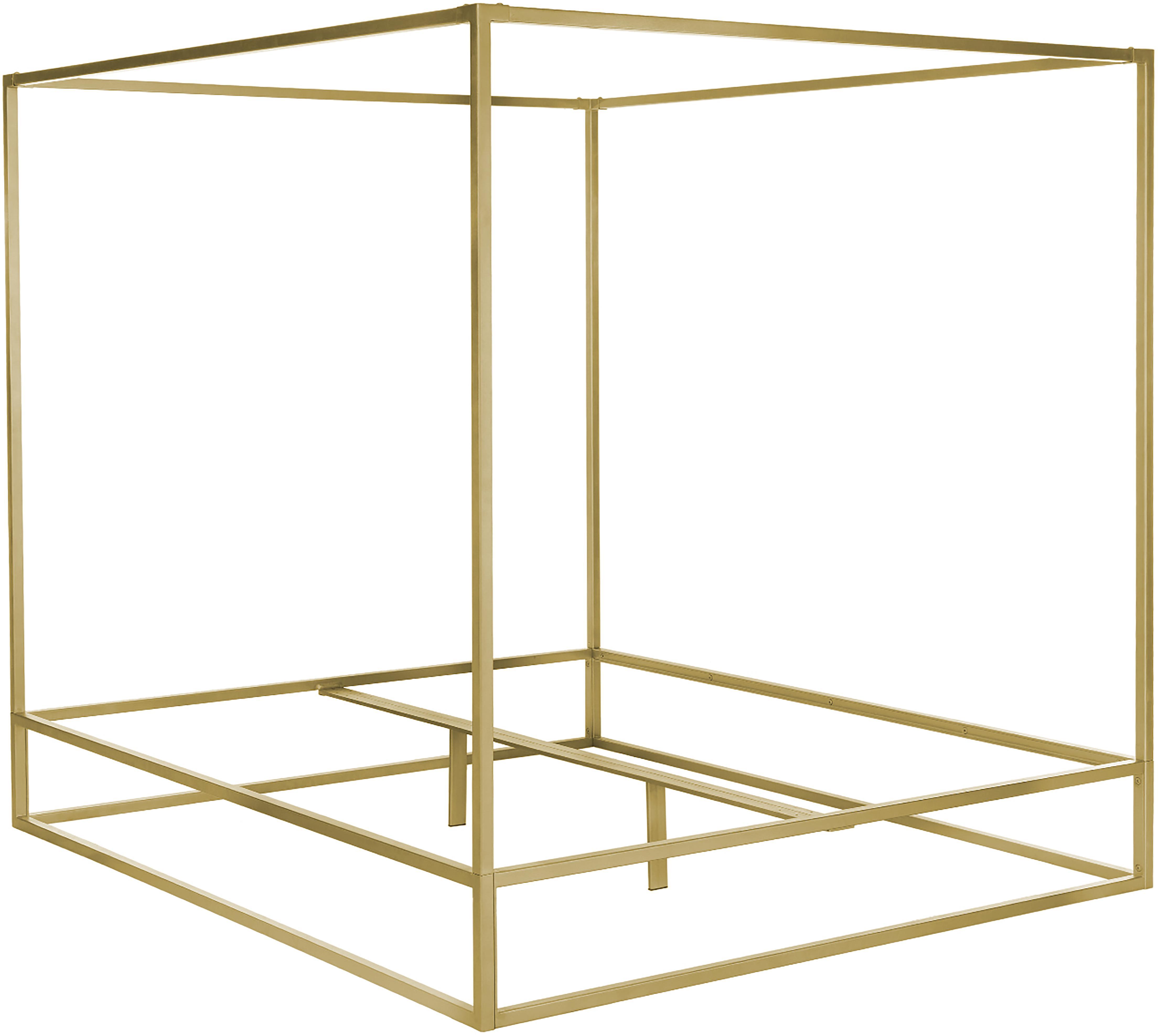 Himmelbett Belle, Metall, vermessingt, Goldfarben, matt, 160 x 200 cm