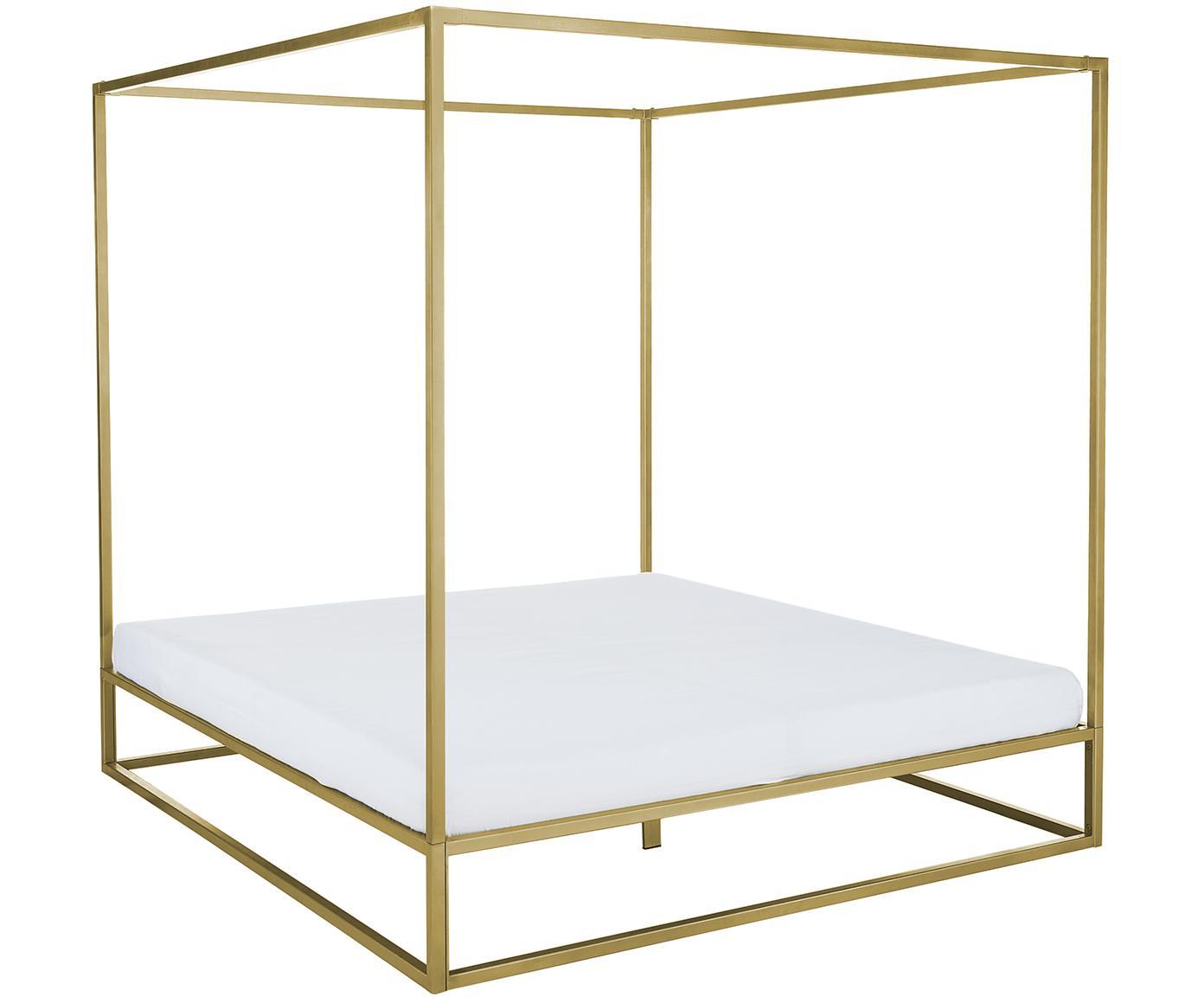 Łóżko z baldachimem Belle, Metal mosiądzowany, Odcienie złotego, matowy, 160 x 200 cm