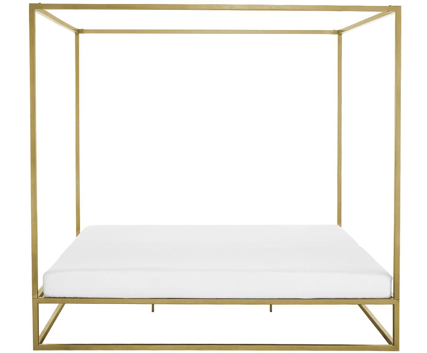 Hemelbed Belle, Vermessingd metaal, Mat goudkleurig, 160 x 200 cm
