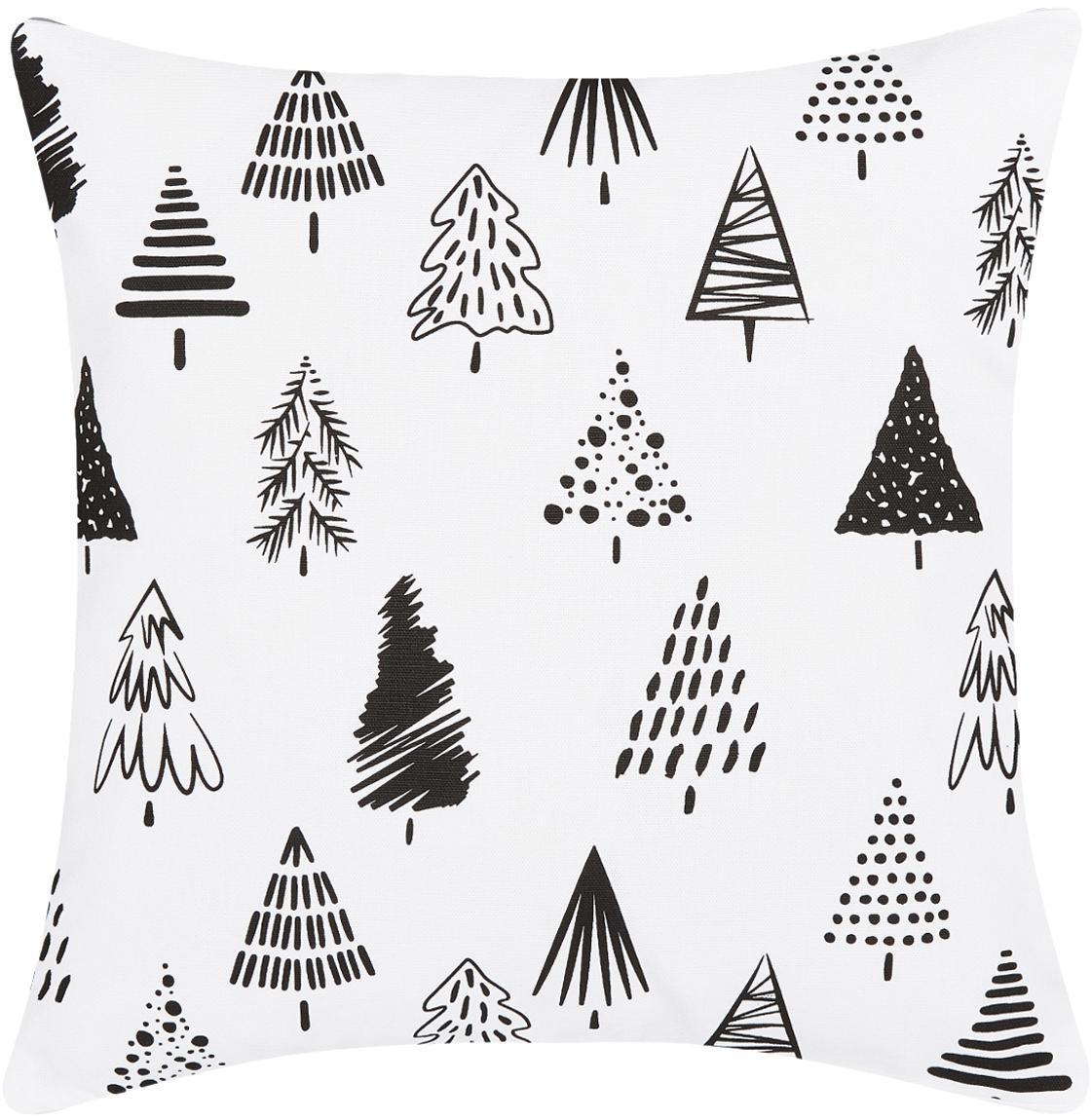 Federa arredo con alberi di Natale Scandi, Cotone, Bianco, nero, Larg. 40 x Lung. 40 cm