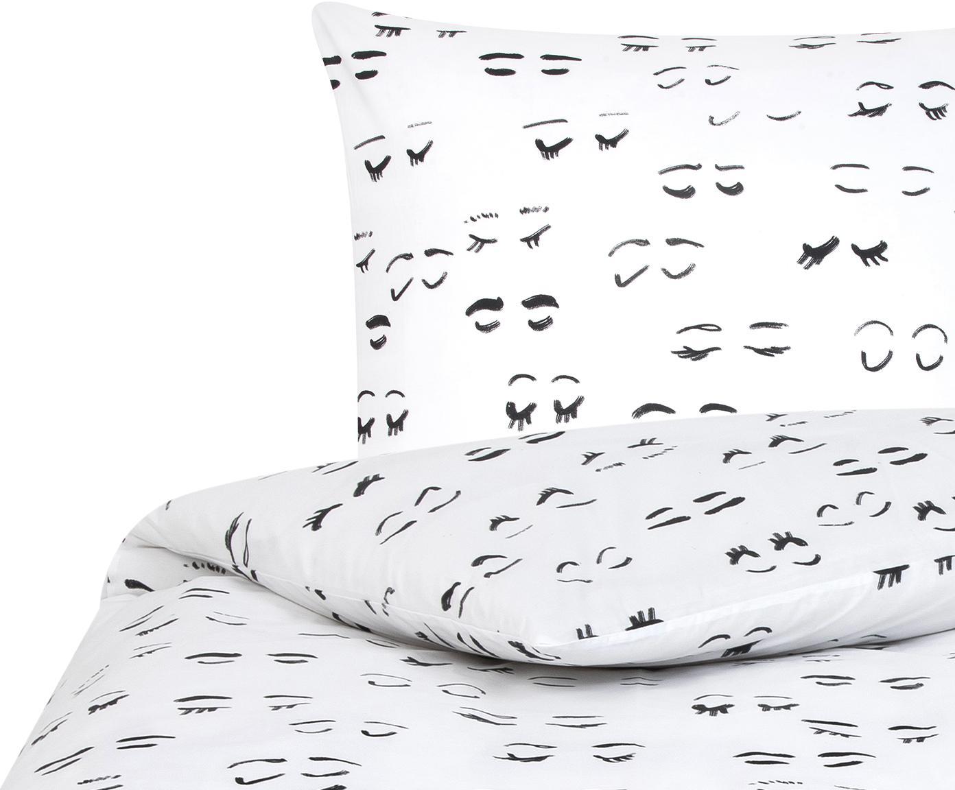 Designer Baumwollperkal-Bettwäsche Lashes von Kera Till, Webart: Perkal, Weiß, Schwarz, 135 x 200 cm + 1 Kissen 80 x 80 cm