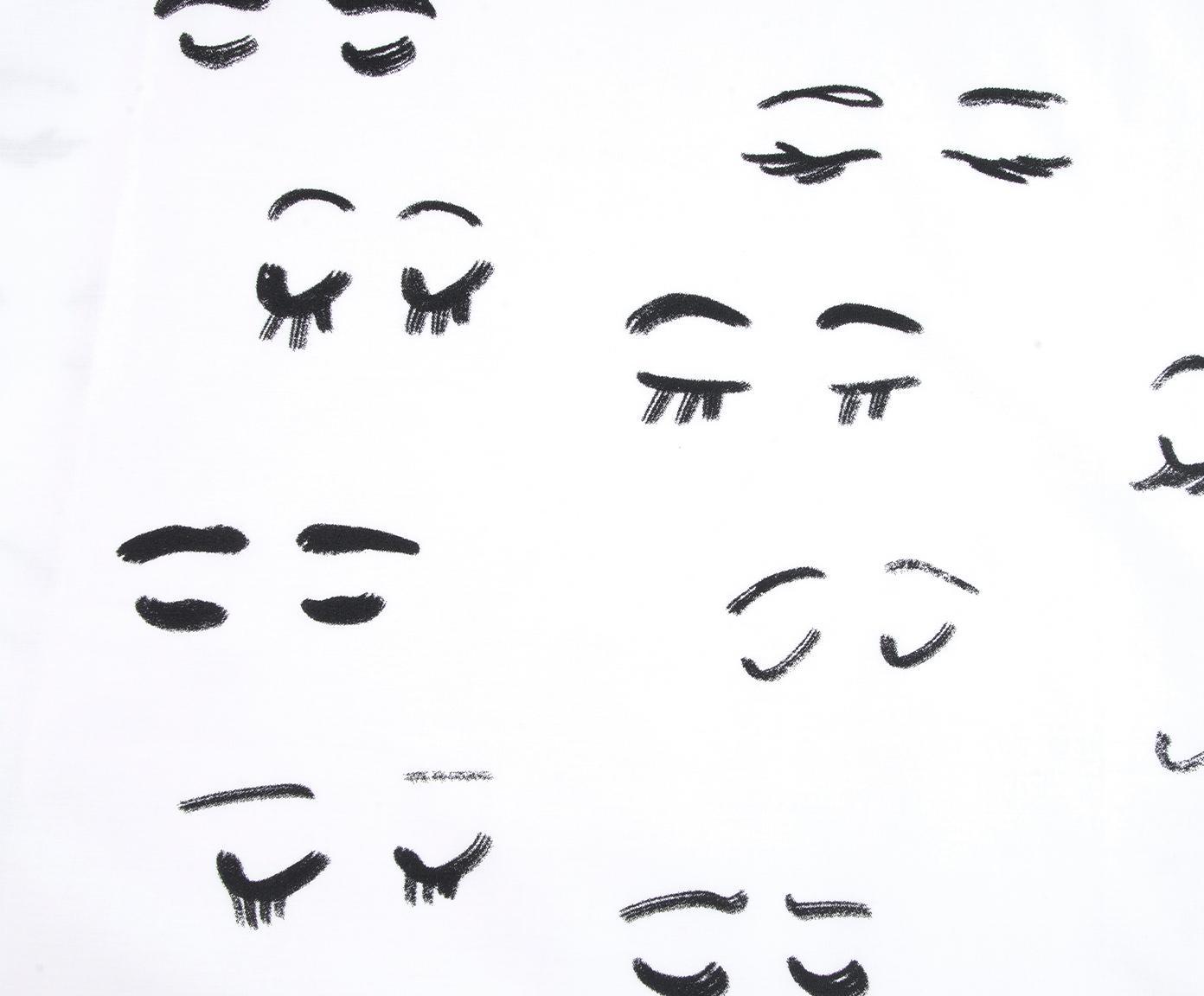 Pościel z perkalu Lashes od Kery Till, Biały, czarny, 240 x 220 cm