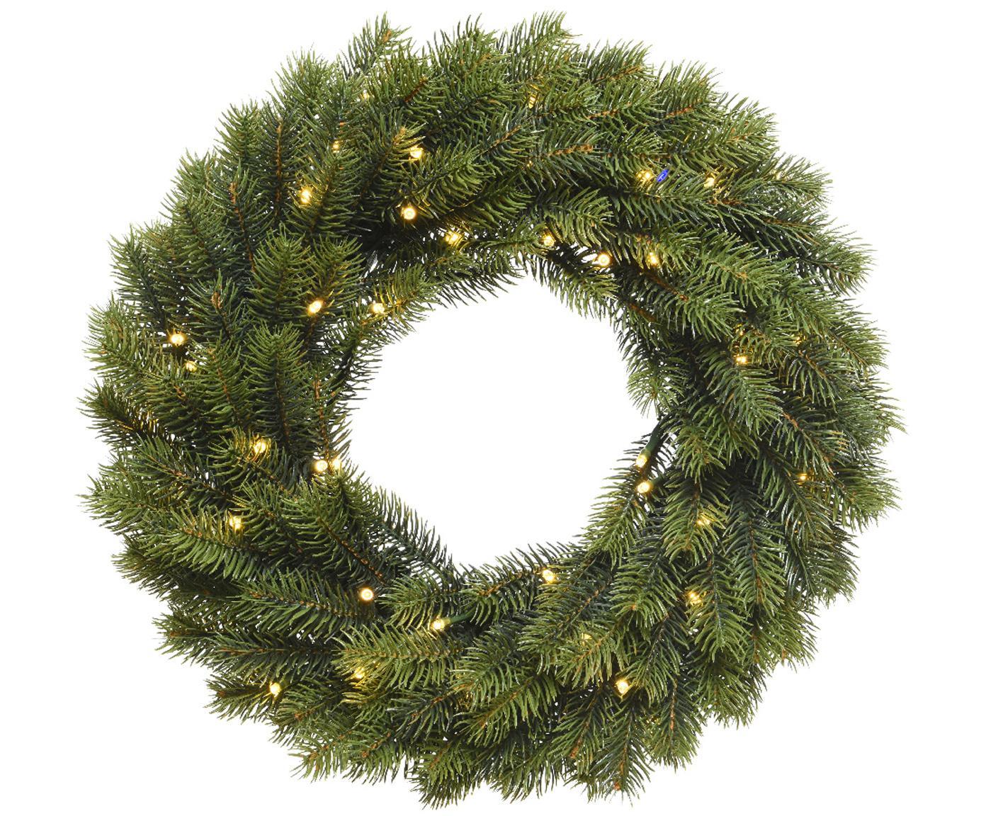 LED-Weihnachtskranz Ben, Kunststoff, grün, Ø 40 cm
