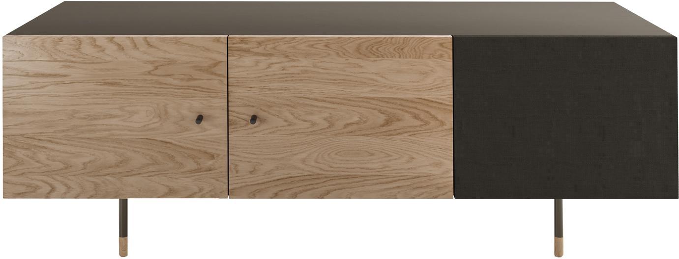 Mueble TV en roble Youth, Estructura: aglomerado chapado en mad, Patas: metal con pintura en polv, Roble, negro, An 150 x Al 52 cm