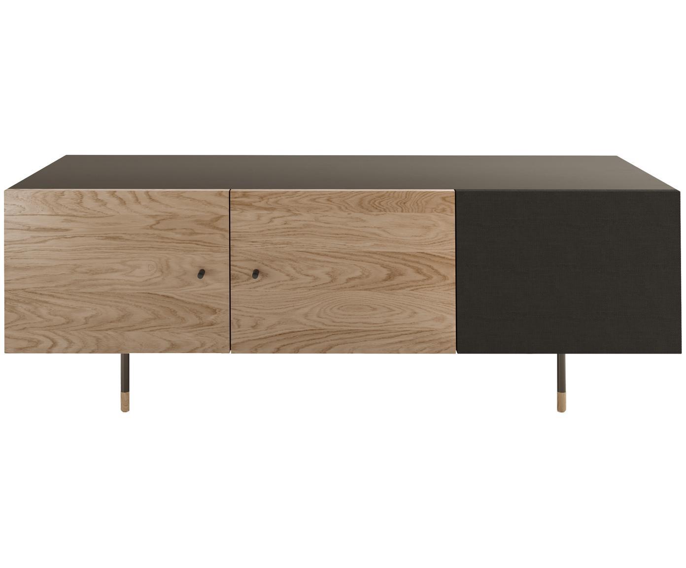Mueble TV en roble Youth, Estructura: aglomerado chapado en mad, Patas: metal, con pintura en pol, Roble, negro, An 150 x Al 52 cm