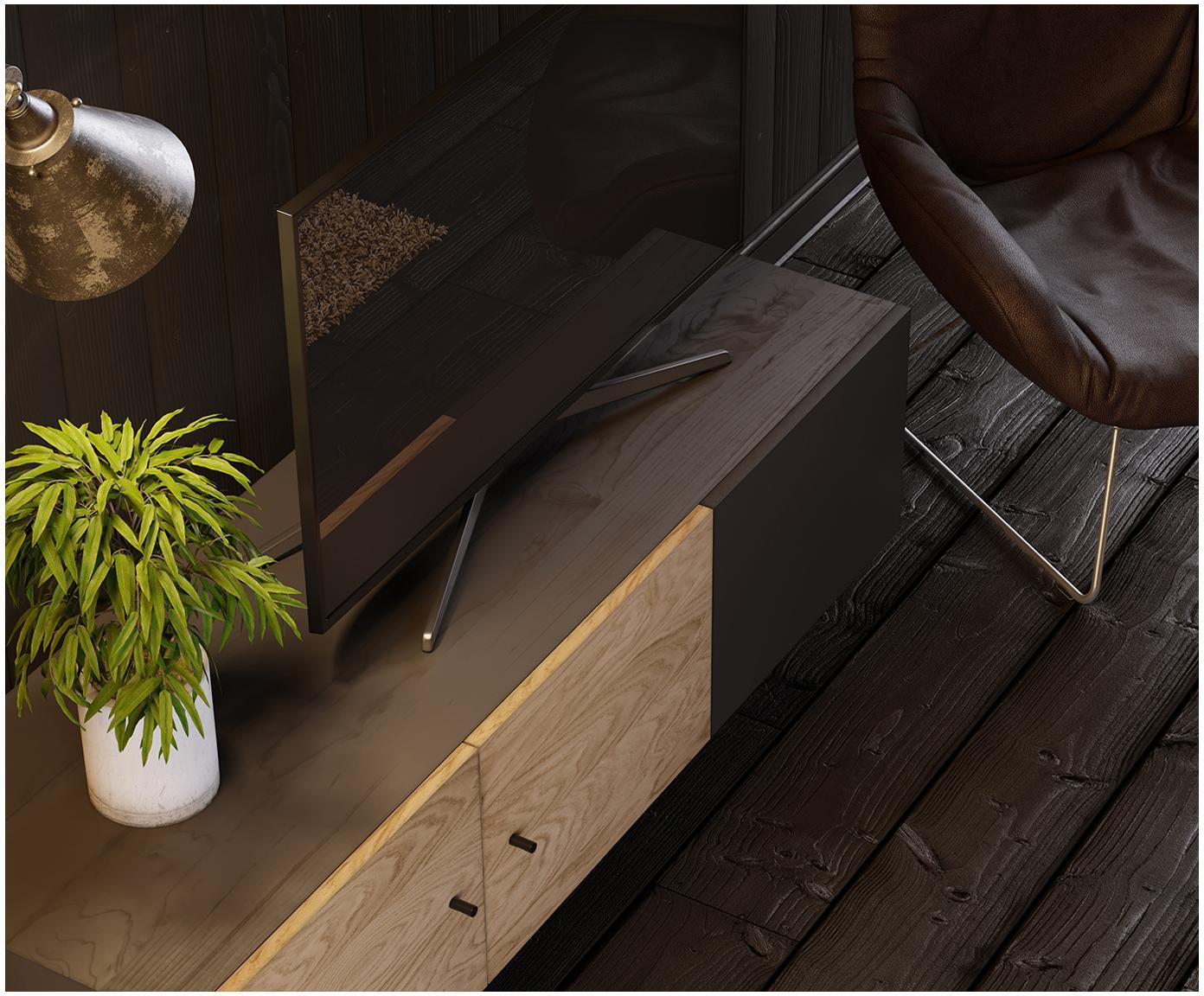Tv-meubel Youth met eikenhoutfineer, Frame: spaanplaat, gebeitst eike, Poten: gepoedercoat metaal, eike, Handvatten: gepoedercoat metaal, Frame: eikenhoutkleurig, zwart gebeitst. Voorkant: eikenhoutkleurig, zwart, 150 x 52 cm