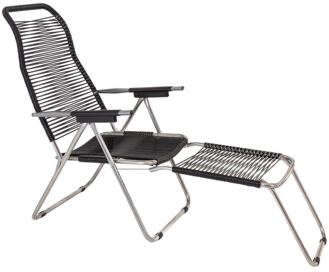 Sedia a sdraio con poggiapiedi Spaghetti, Struttura: alluminio, Rivestimento: nastro di cloruro di poli, Nero, Larg. 60 x Prof. 48 cm