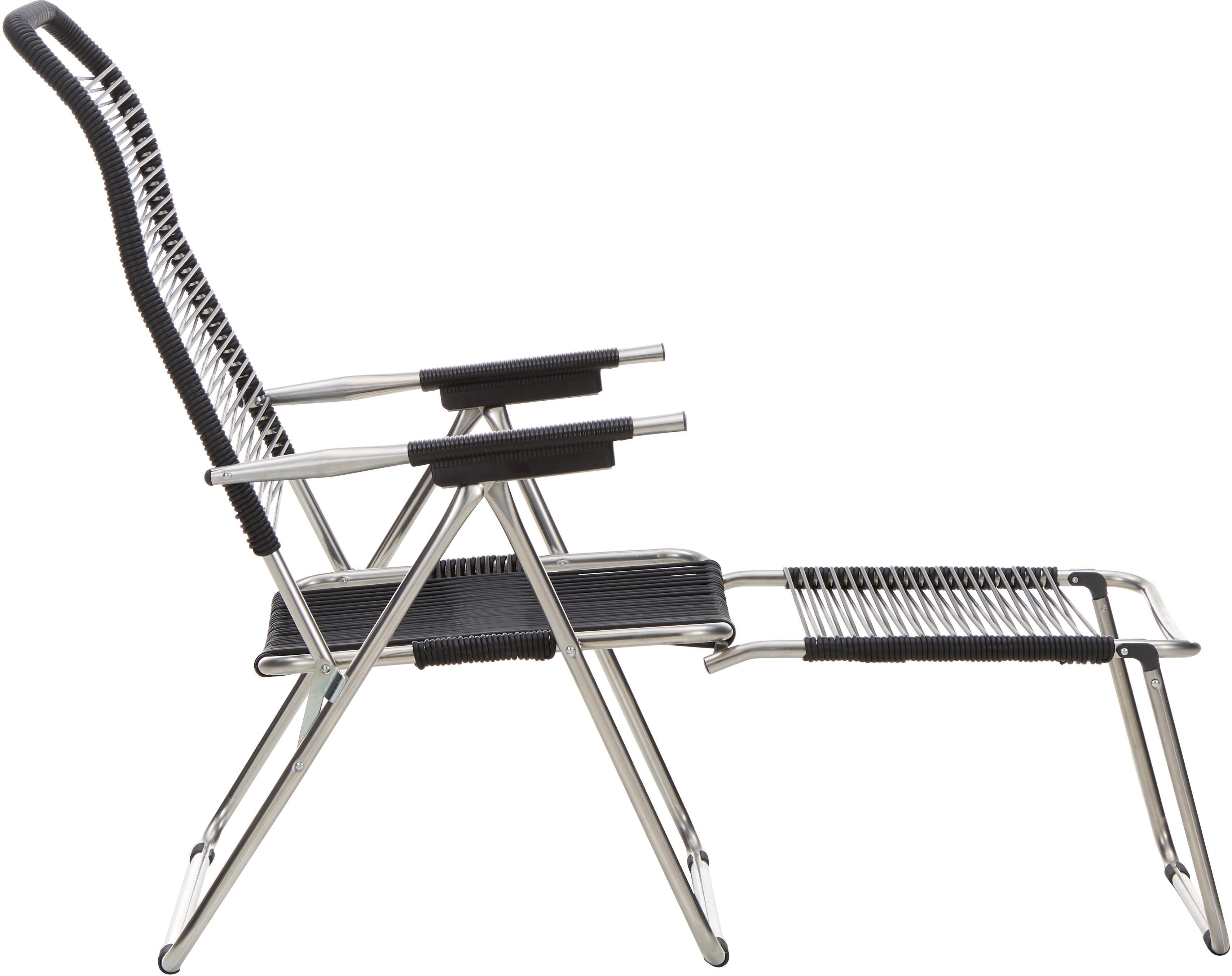 Garten-Liegestuhl Spaghetti mit Fußstütze, Gestell: Aluminium, Schwarz, B 60 x T 48 cm