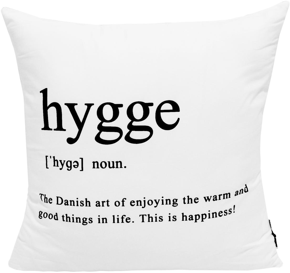 Kussenhoes Hygge in zwart/wit met opschrift, 100% polyester, Zwart, wit, 45 x 45 cm