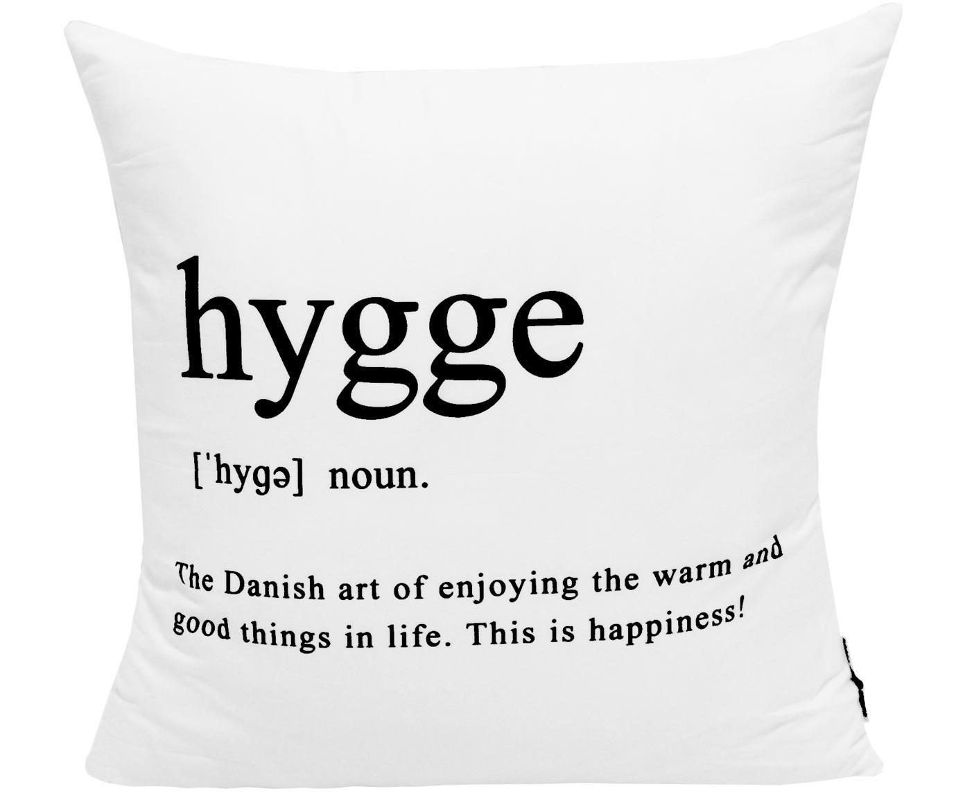 Kussenhoes Hygge in zwart/wit met opschrift, Polyester, Wit met zwarte vlekken, 45 x 45 cm
