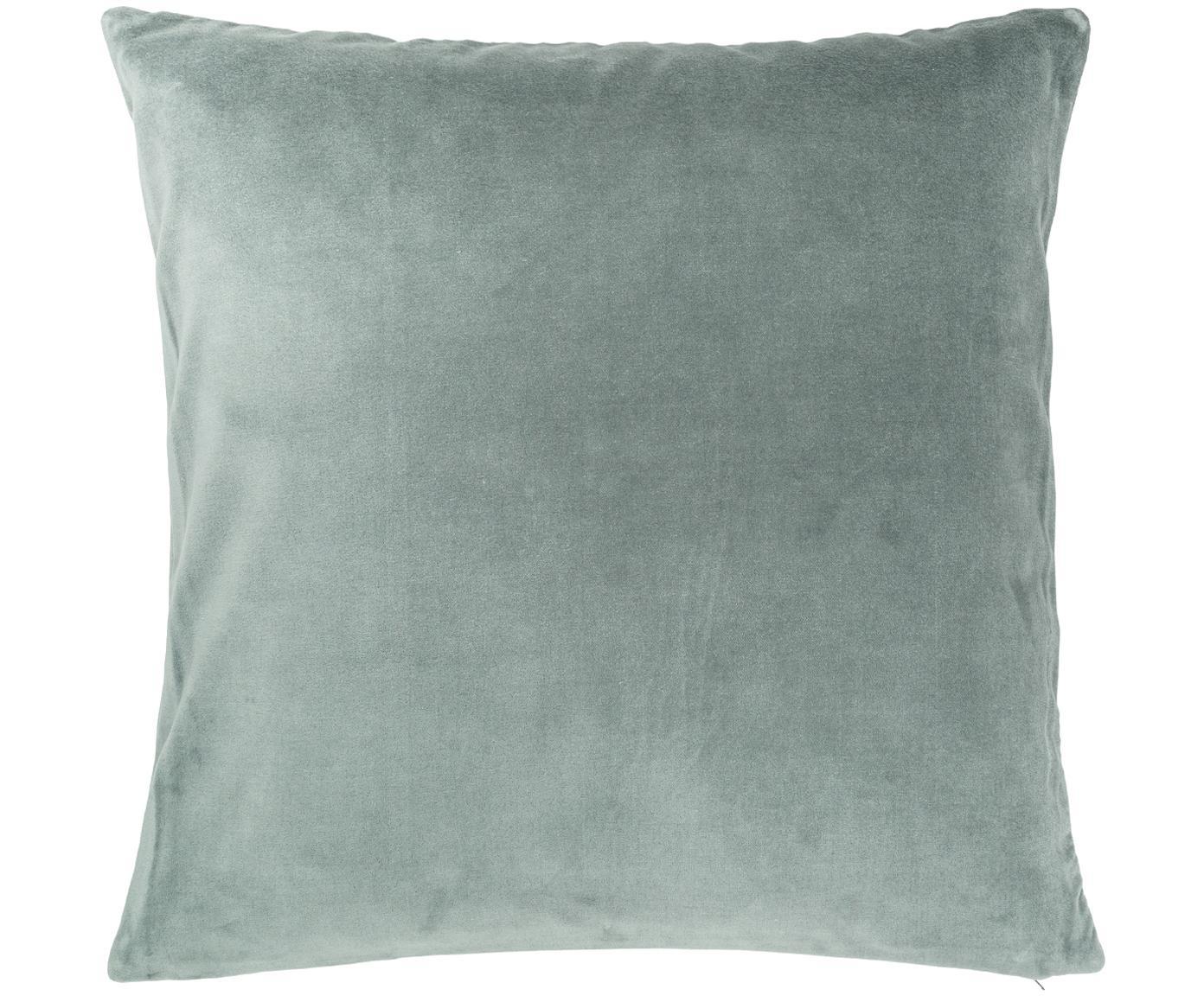 Poszewka na poduszkę z aksamitu Cosima, Szałwiowy zielony, S 50 x D 50 cm