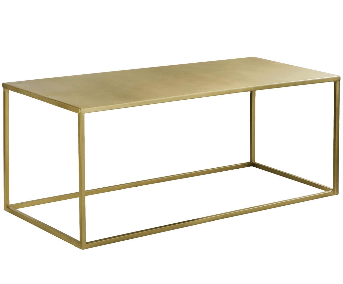 Couchtisch Stina aus Metall, Metall, pulverbeschichtet, Goldfarben, matt, 90 x 45 cm