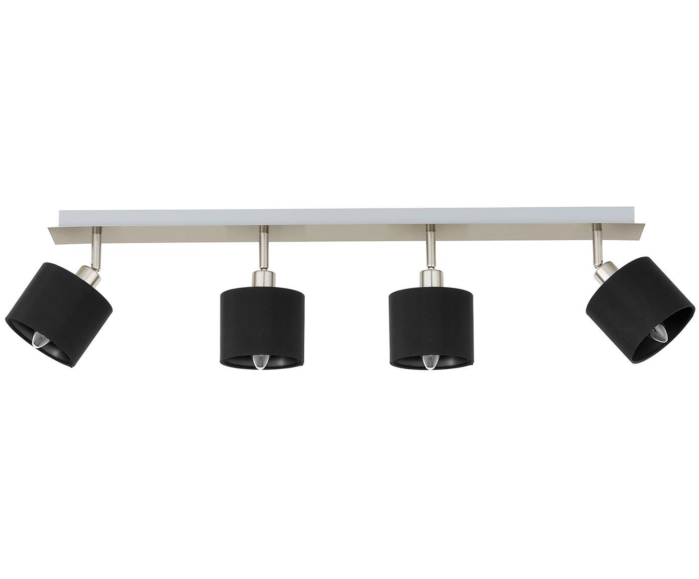 Faretti da soffitto Casper, Baldacchino: metallo, nichelato, Paralume: tessuto, Argentato, nero, Larg. 78 x Alt. 7 cm