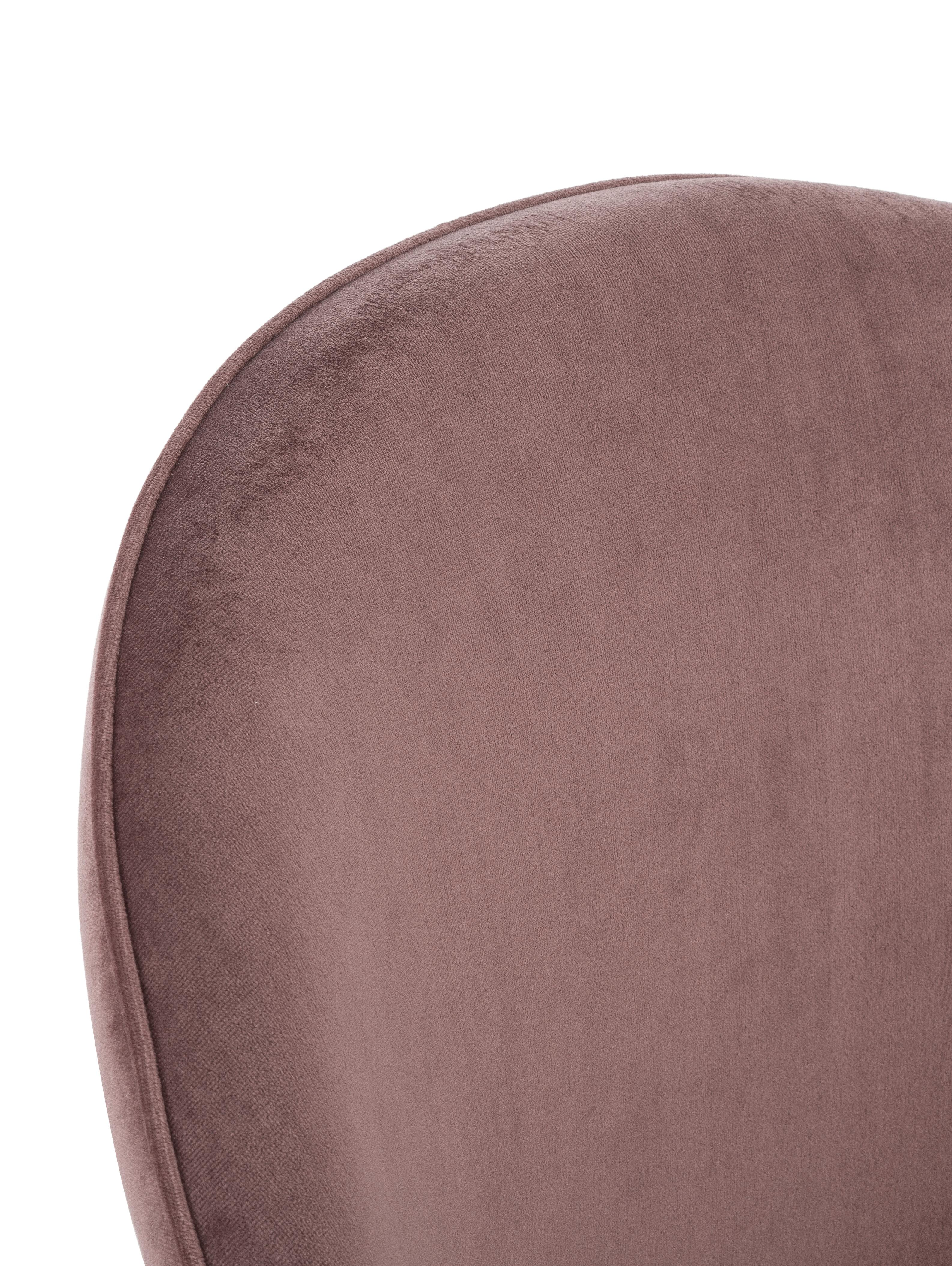 Moderne Samt-Polsterstühle Amy, 2 Stück, Bezug: Samt (Polyester) 25.000 S, Beine: Metall, pulverbeschichtet, Rosa, B 51 x T 55 cm